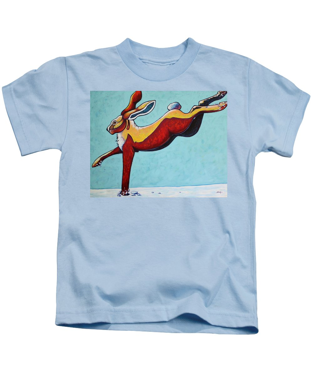 Wildlife Kids T-Shirt featuring the painting High Tailing It - Jackrabbit by Joe Triano