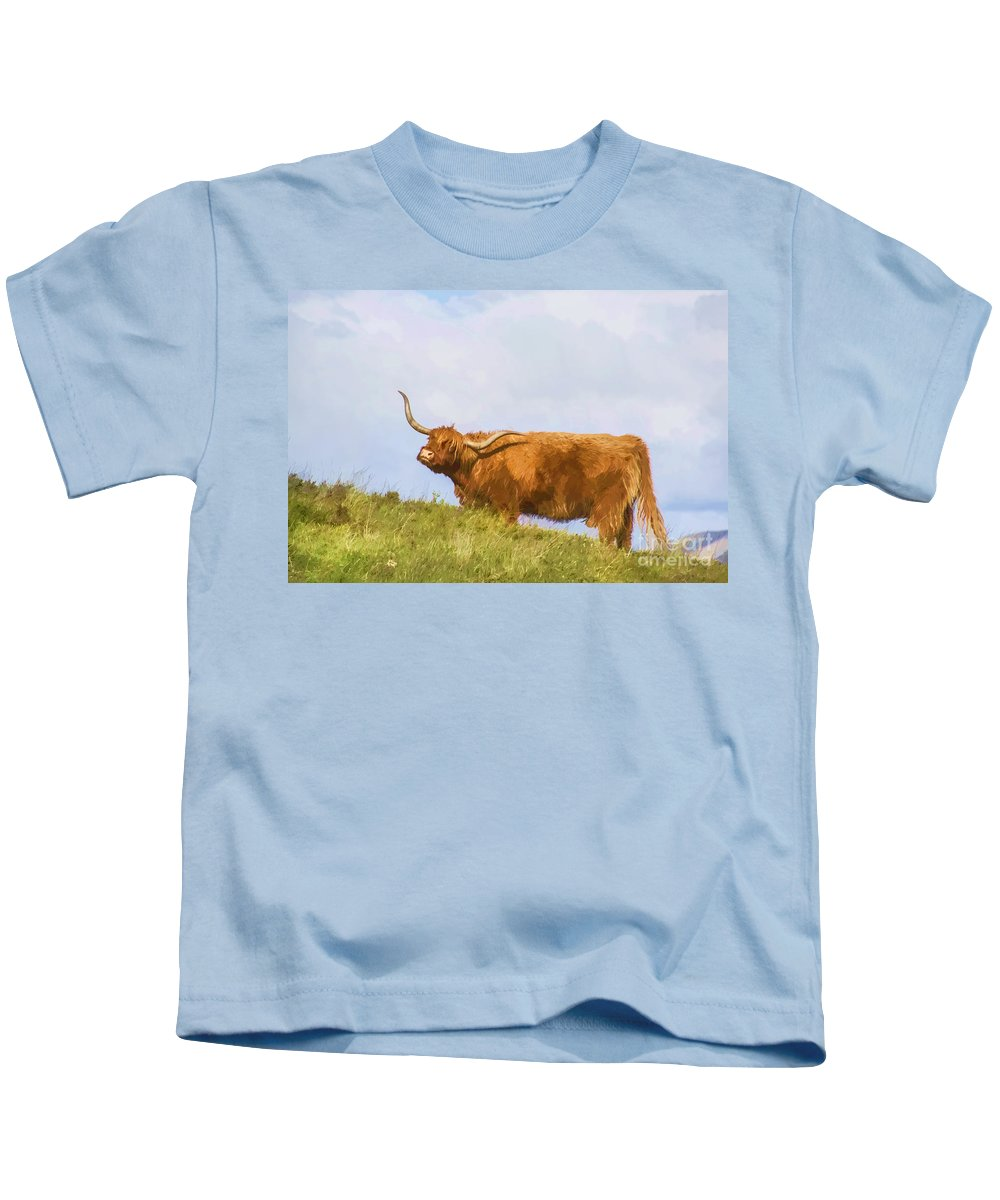Scotland Canvas Kids T-Shirt featuring the photograph Highland Cow Watercolour by Chris Thaxter