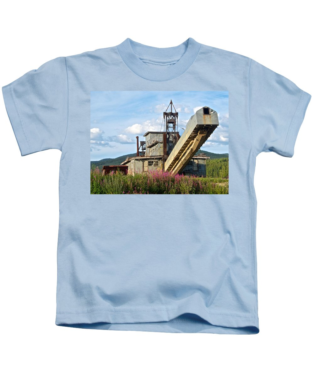 Historic Gold Dredge In Chicken Kids T-Shirt featuring the photograph Historic Gold Dredge In Chicken-ak by Ruth Hager