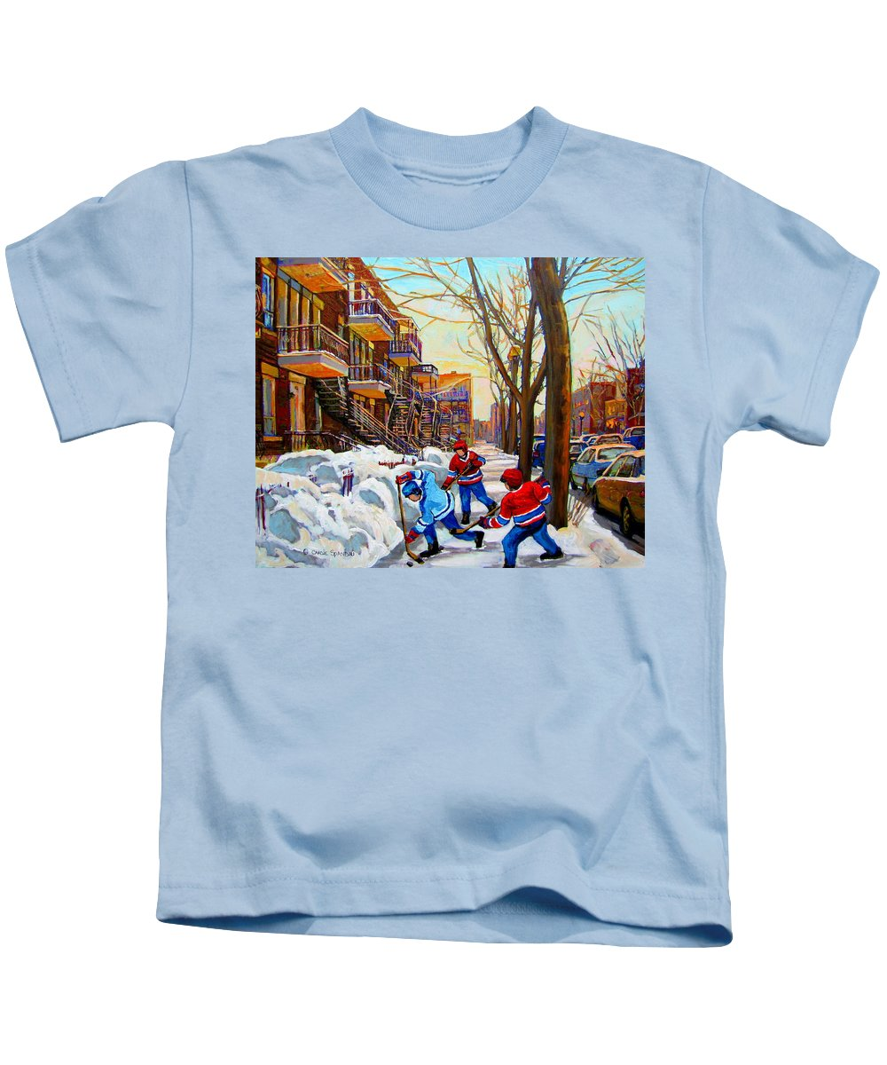 Montreal Kids T-Shirt featuring the painting Hockey Art - Paintings Of Verdun- Montreal Street Scenes In Winter by Carole Spandau