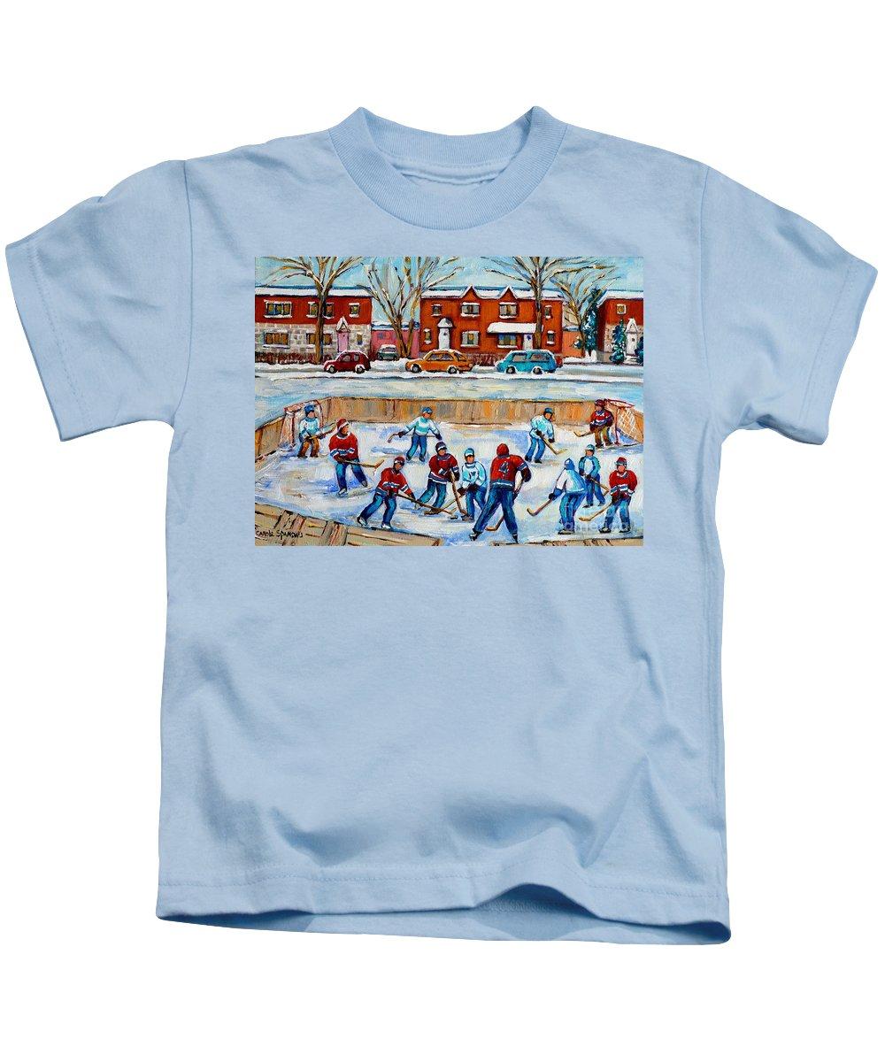 Hockey At Van Horne Montreal Kids T-Shirt featuring the painting Hockey Rink At Van Horne Montreal by Carole Spandau