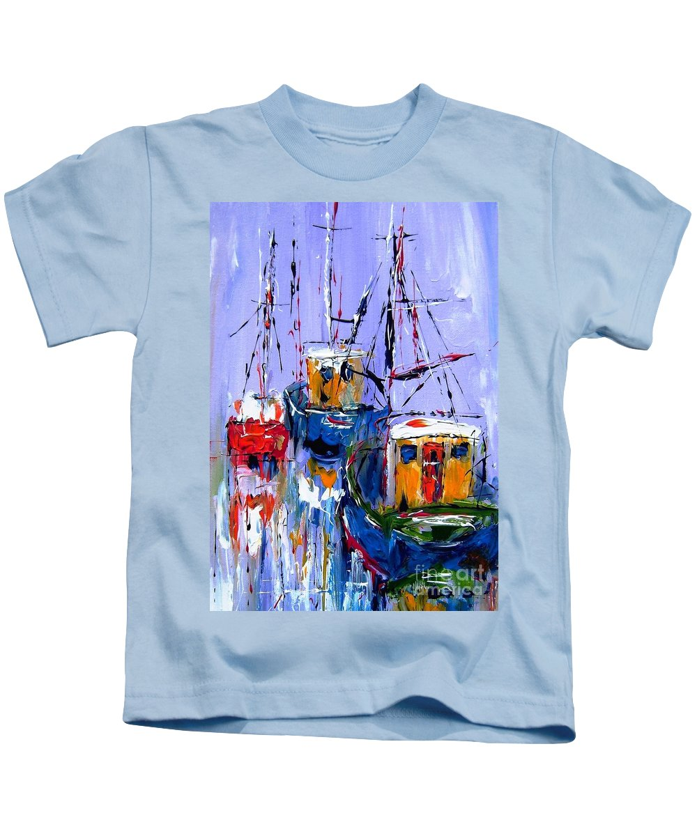 Abstract Kids T-Shirt featuring the painting Wall Art Print Titled Sail , Explore , Discover by Mary Cahalan Lee- aka PIXI