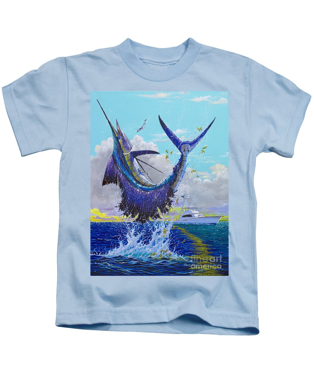 Sailfish Kids T-Shirt featuring the painting Hooked Up Off004 by Carey Chen