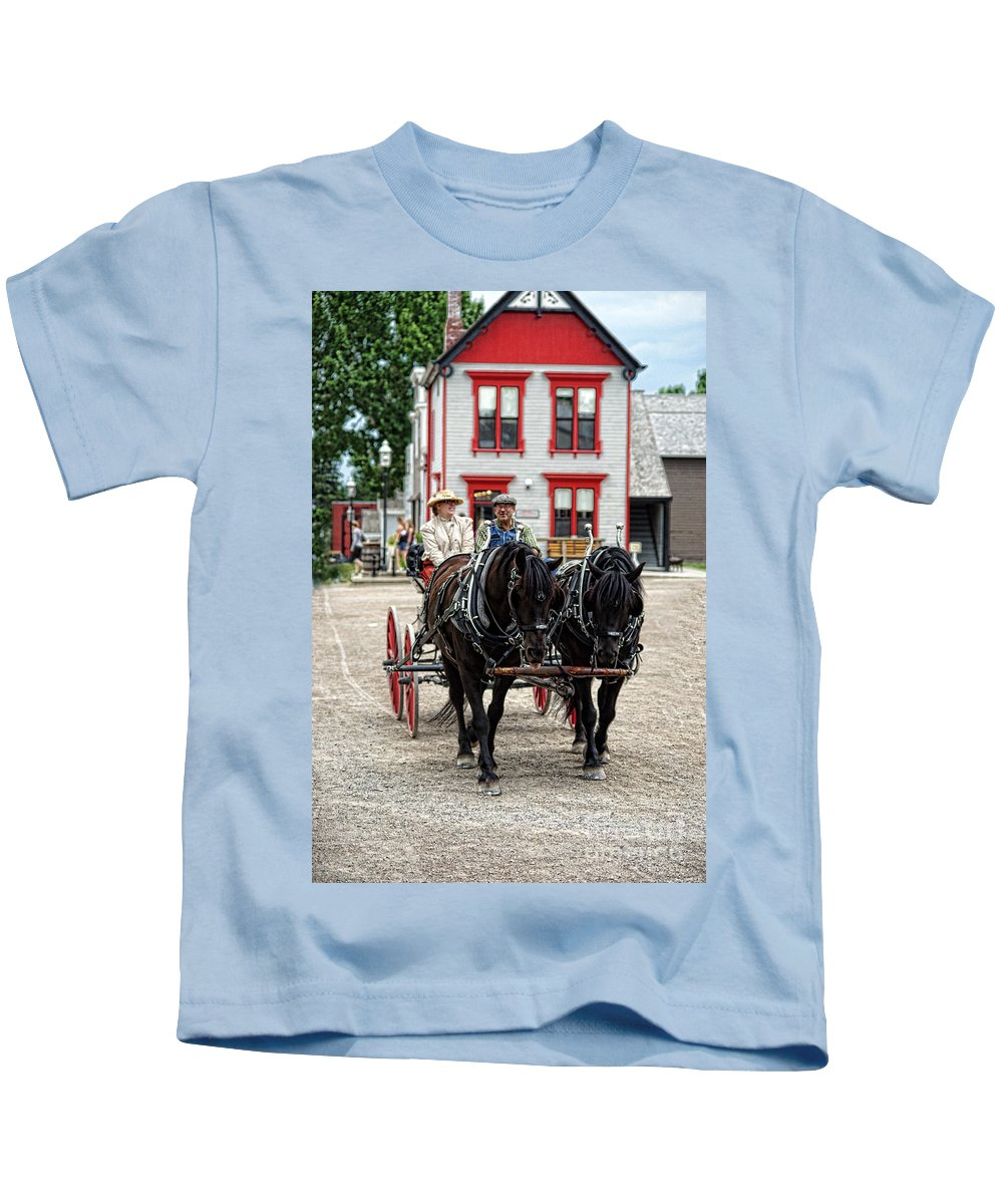 Horses Kids T-Shirt featuring the photograph Horse And Buggy Sc3643-13 by Randy Harris