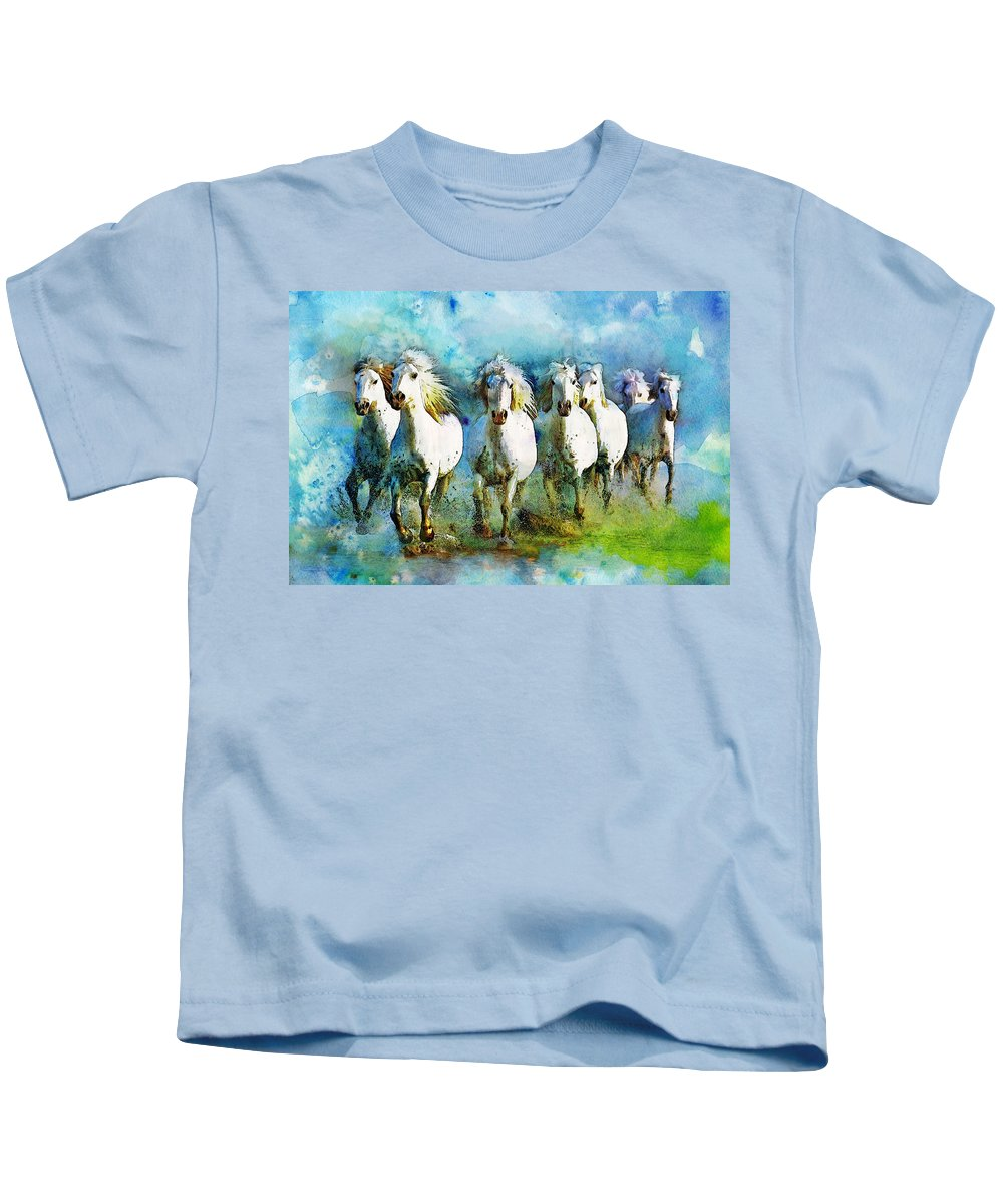 Horse Kids T-Shirt featuring the painting Horse Paintings 005 by Catf