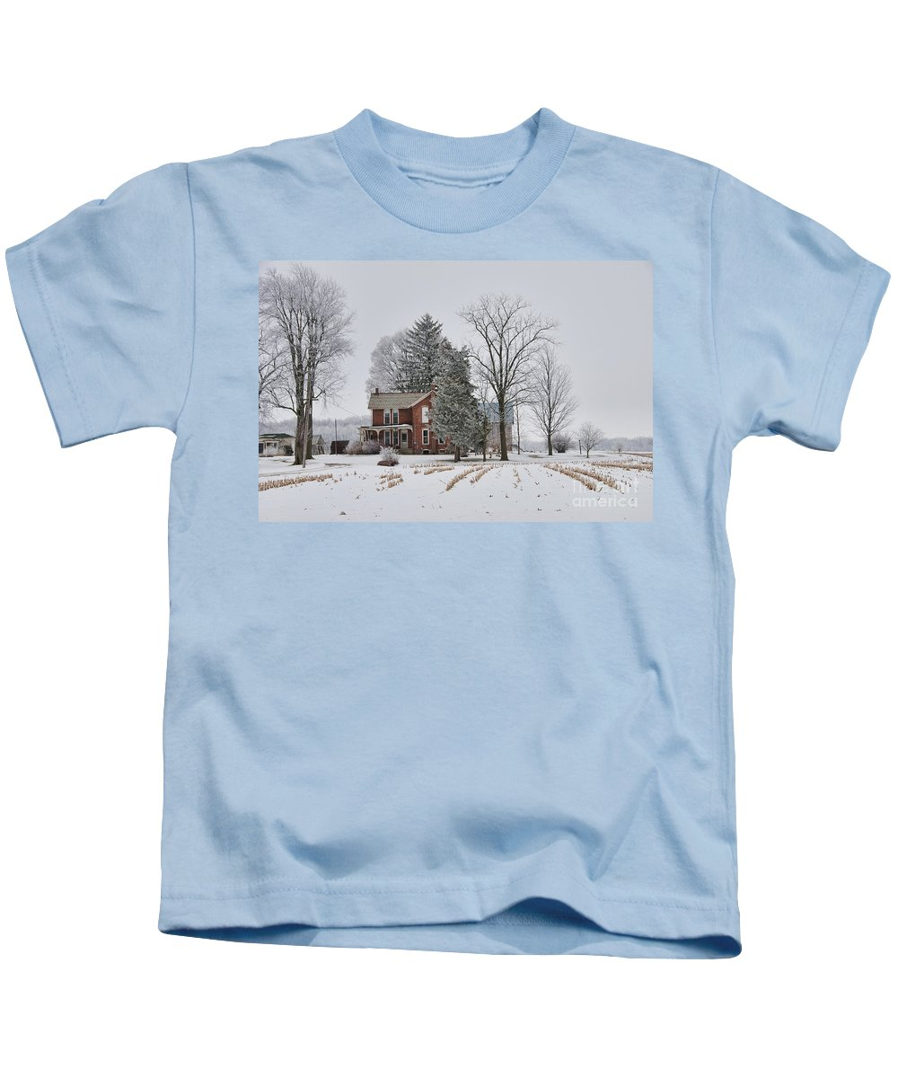 Kids T-Shirt featuring the photograph House In Winter by David Arment