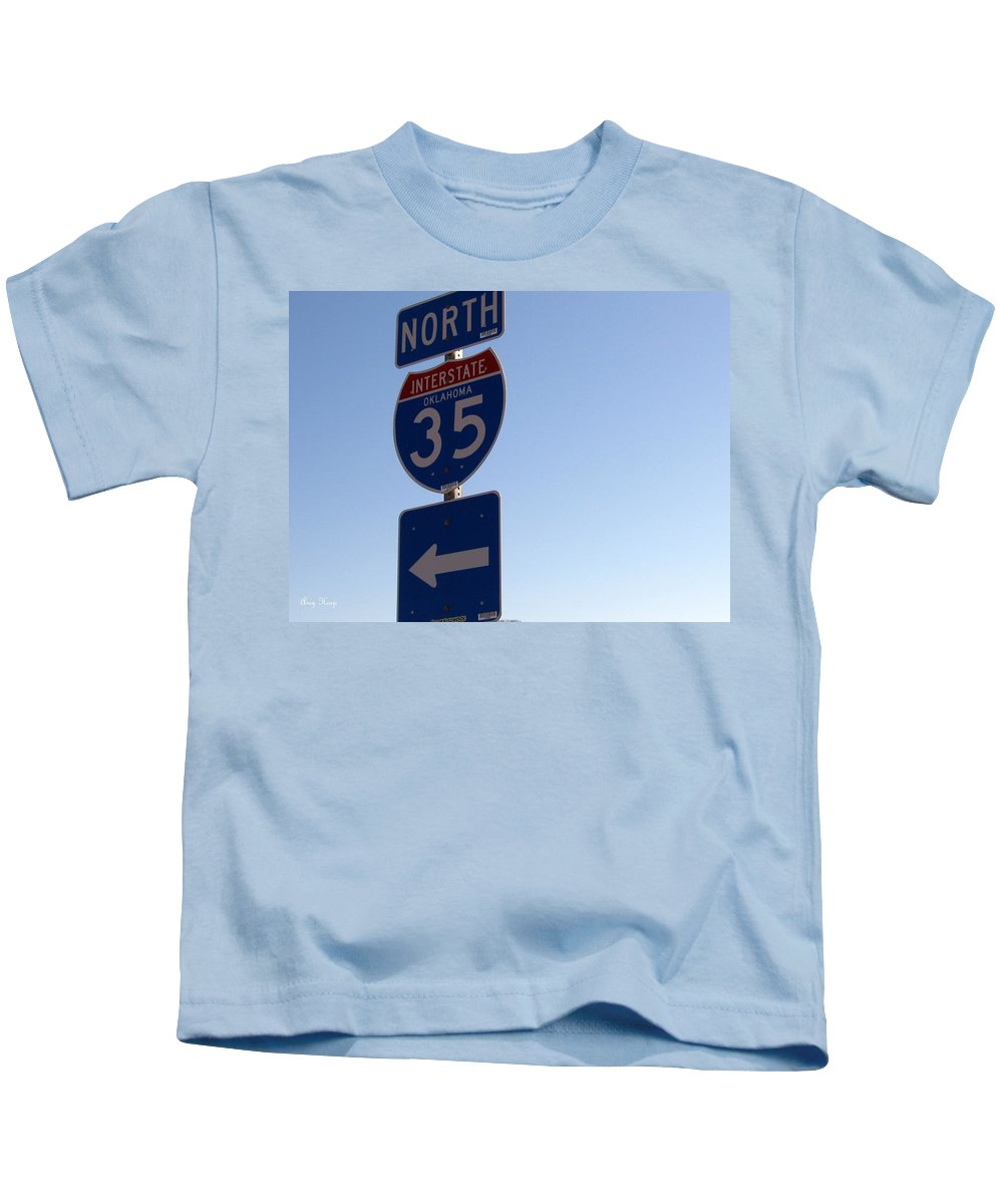 Interstate 35 Kids T-Shirt featuring the photograph I 35 N. Oklahoma by Amy Hosp