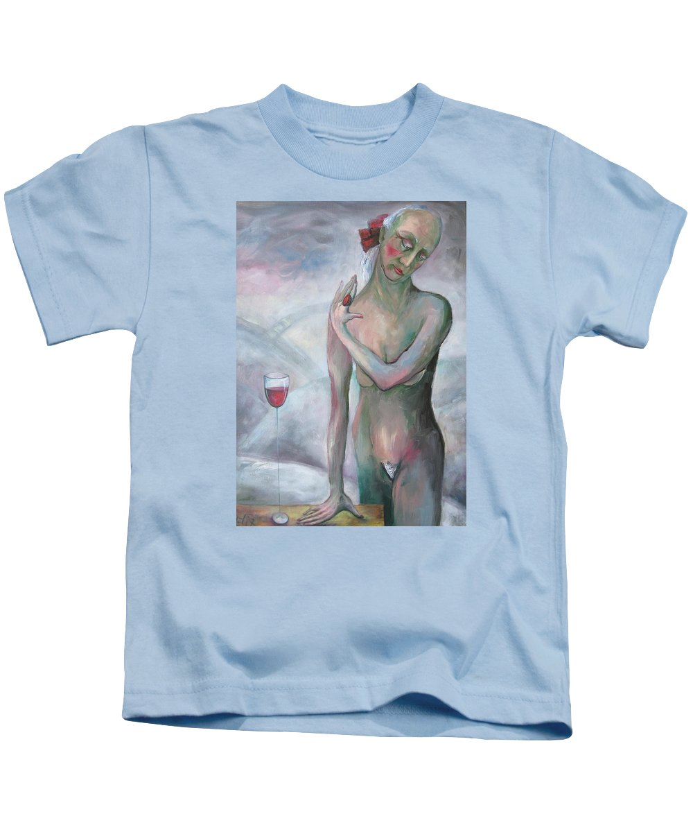 Portrait Kids T-Shirt featuring the painting I Am Ready by Elisheva Nesis