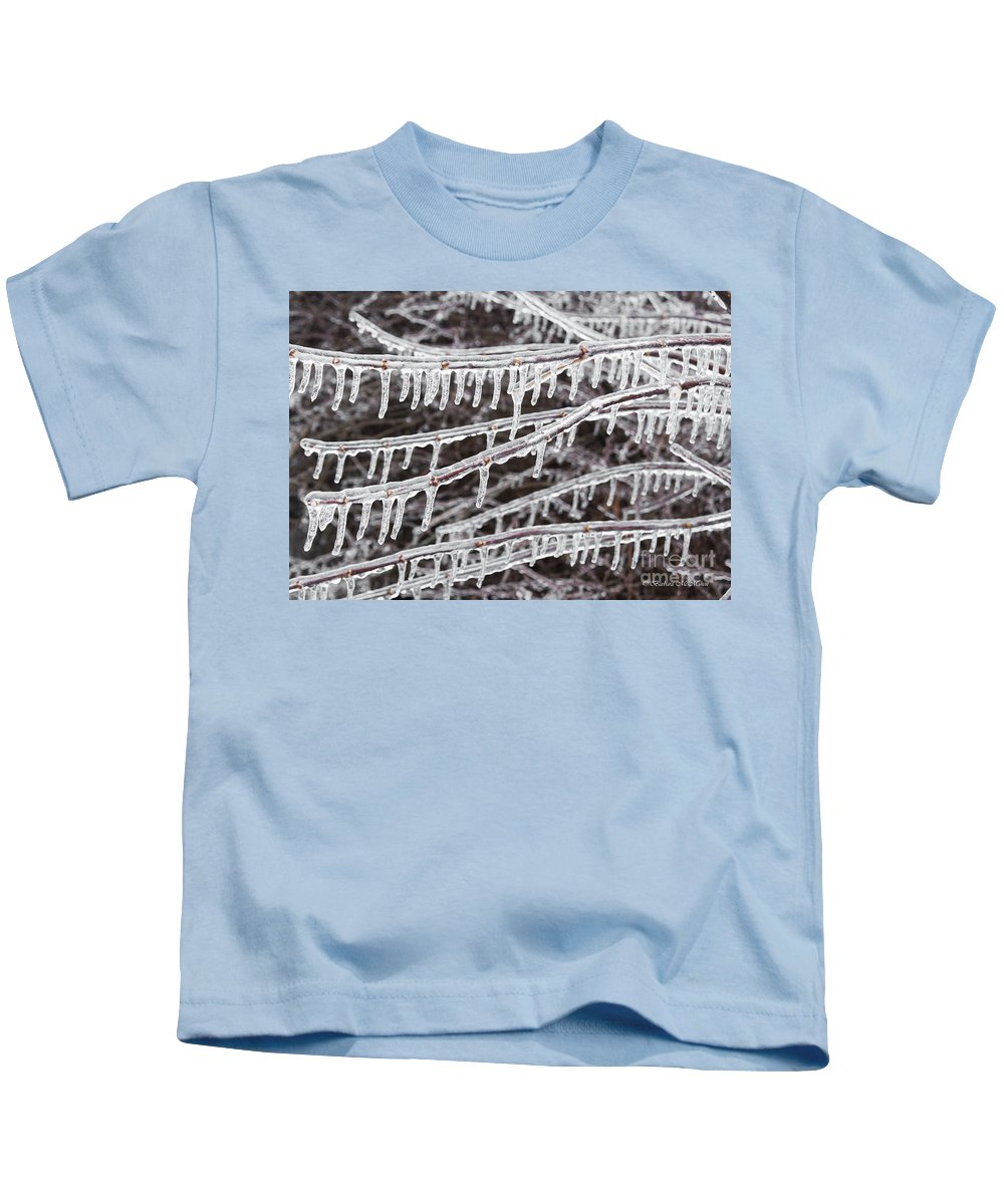 Icicle Kids T-Shirt featuring the photograph Ice Abstract 2 by Barbara McMahon