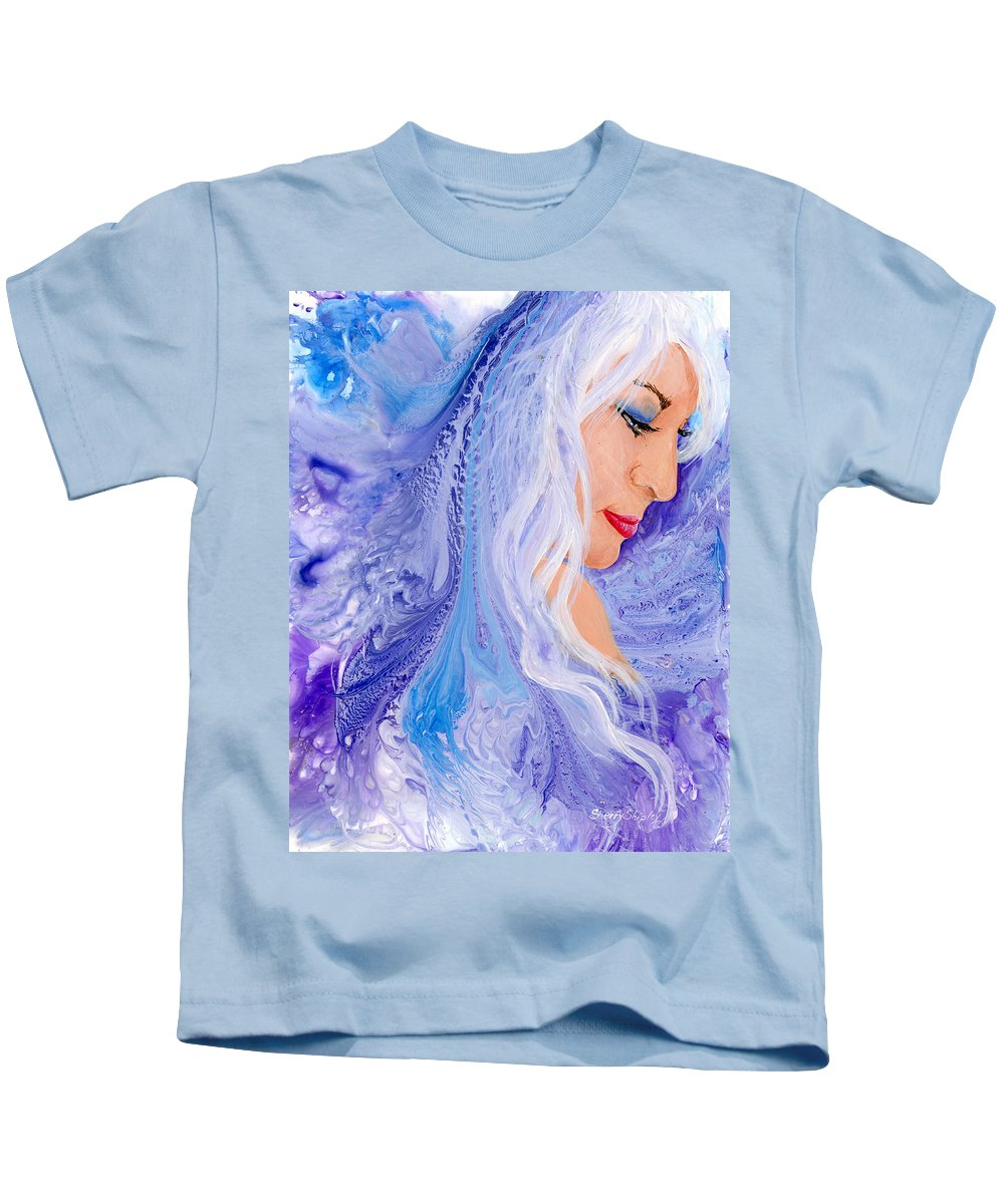 Female Kids T-Shirt featuring the painting Ice Angel by Sherry Shipley