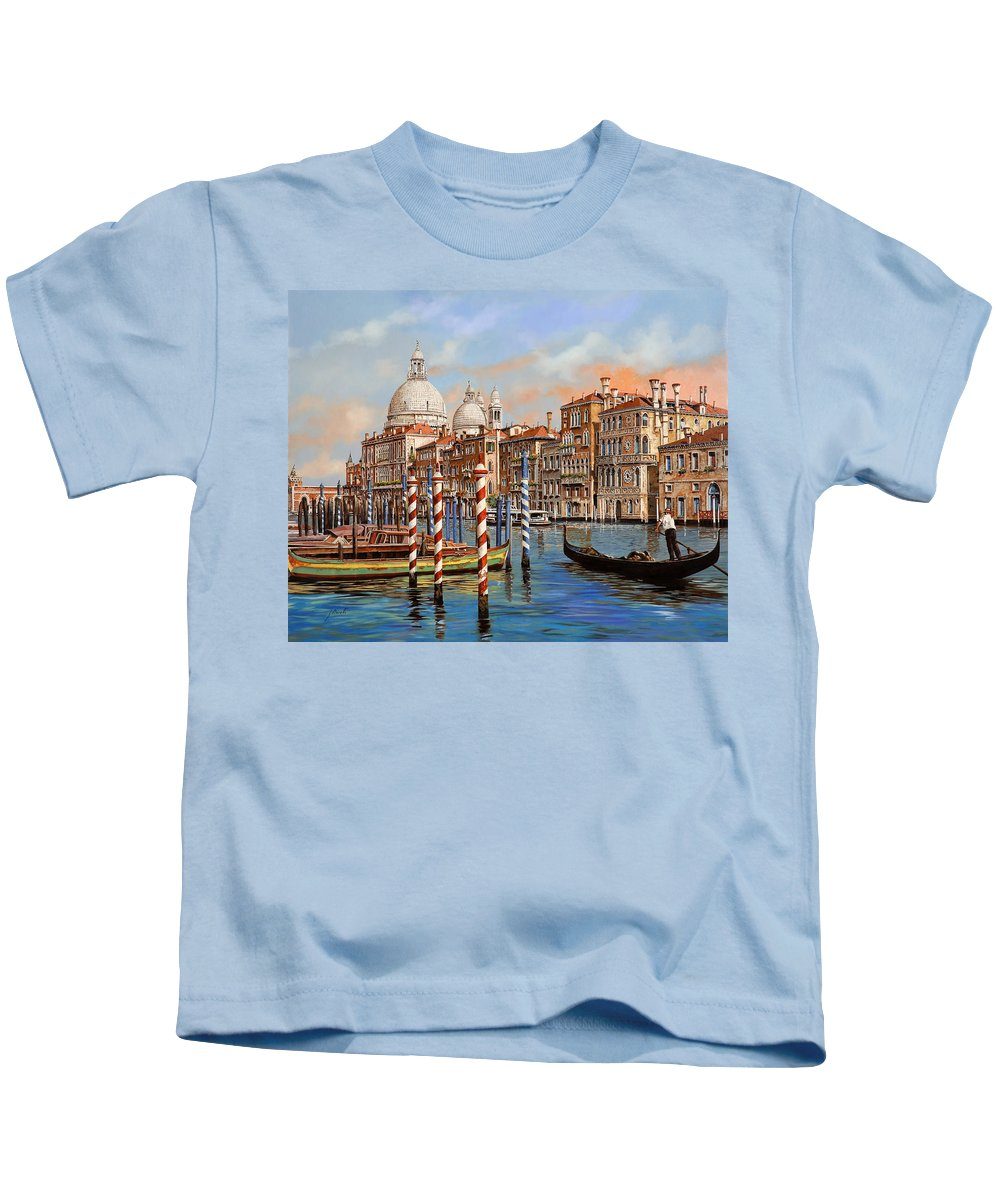 Venice Kids T-Shirt featuring the painting Il Canal Grande by Guido Borelli