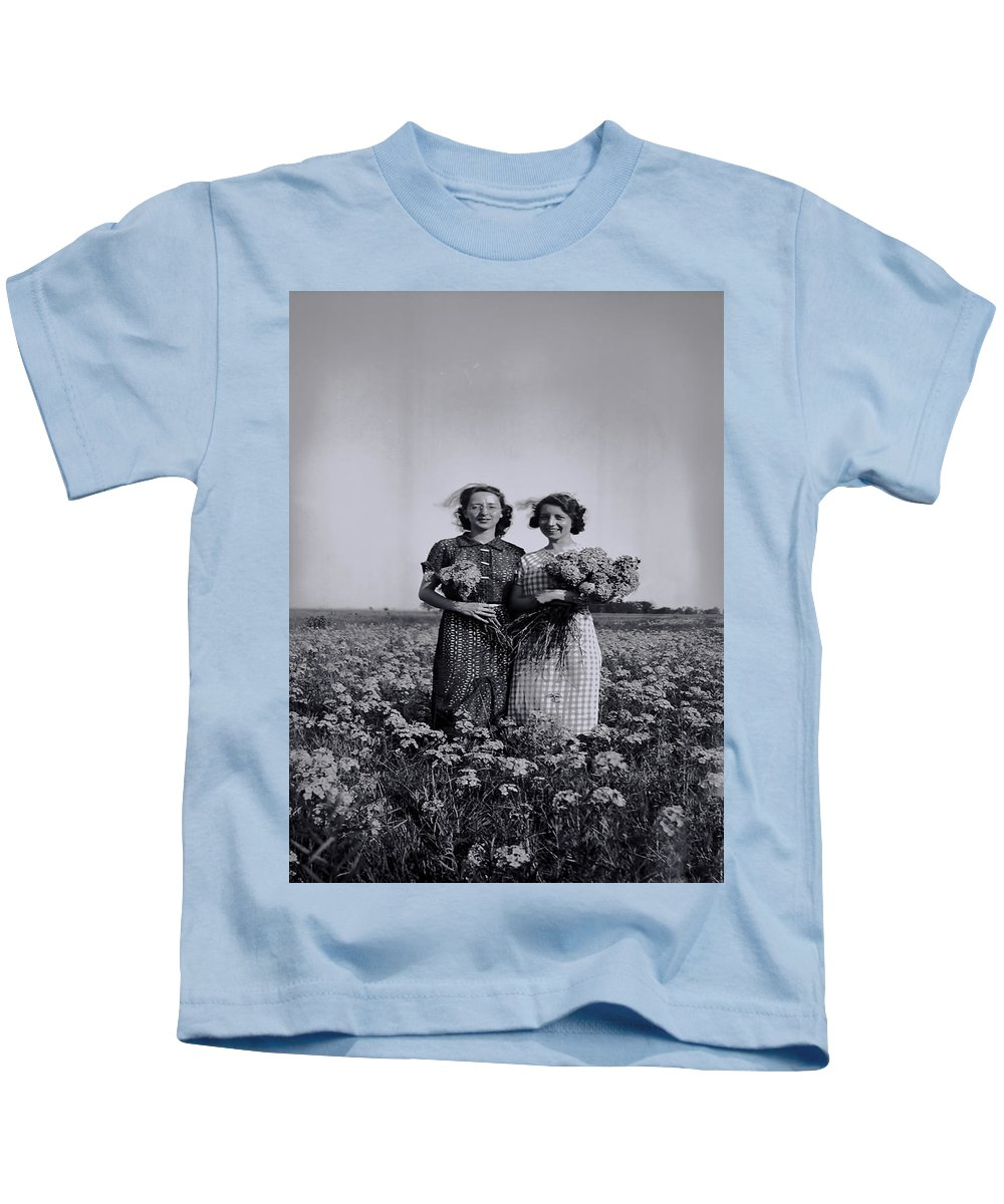 Kids T-Shirt featuring the photograph In A Field Of Flowers Vintage Photo by Cathy Anderson