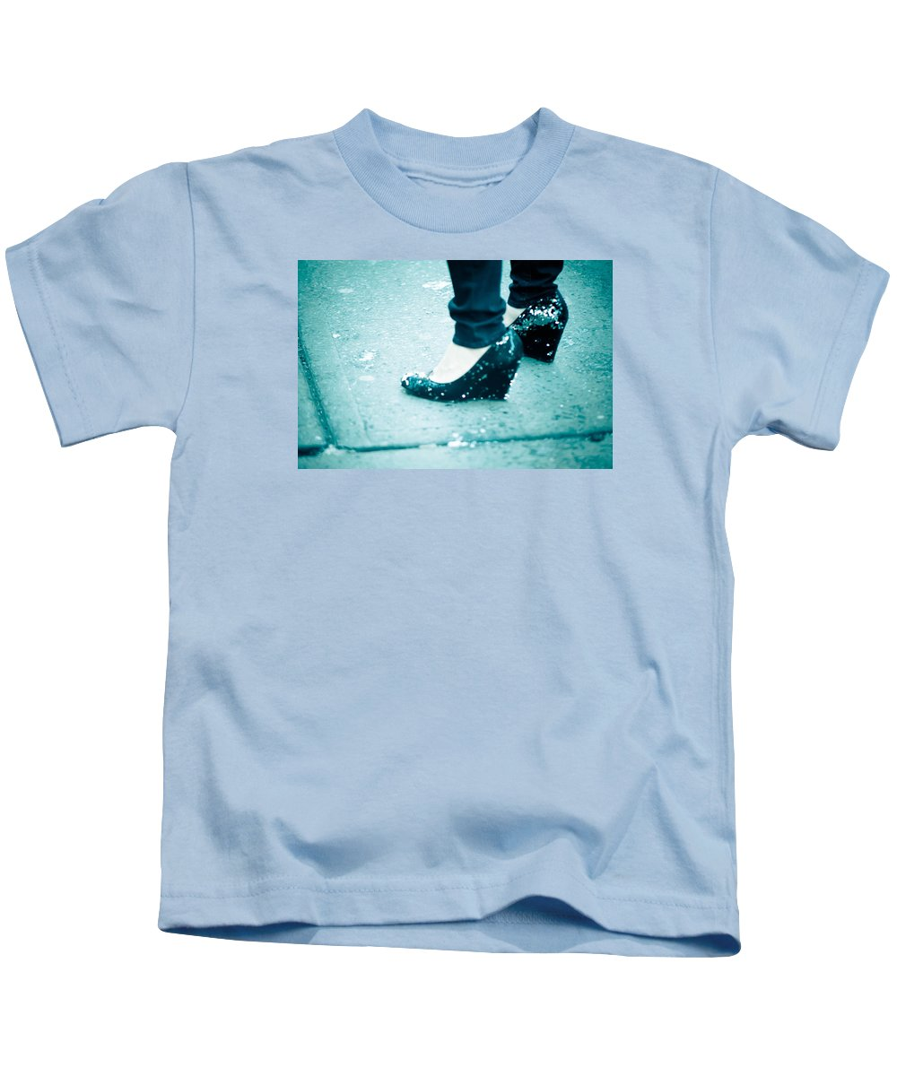 Blue Kids T-Shirt featuring the photograph In Her Shoes by Zina Zinchik