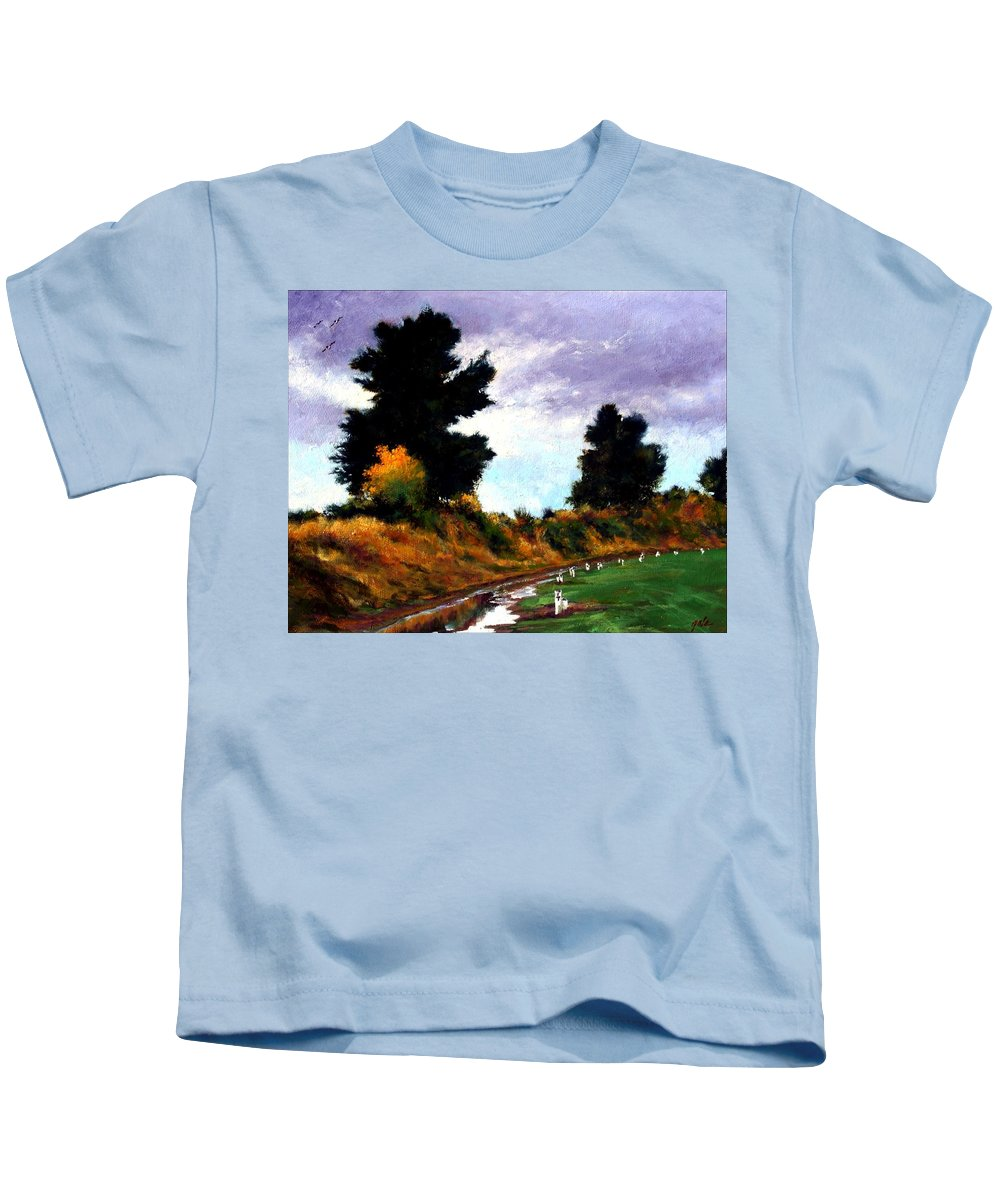 Landscape Kids T-Shirt featuring the painting Inside The Dike by Jim Gola