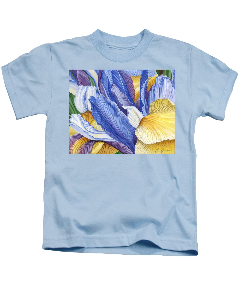 Iris Kids T-Shirt featuring the painting Iris by Jane Girardot