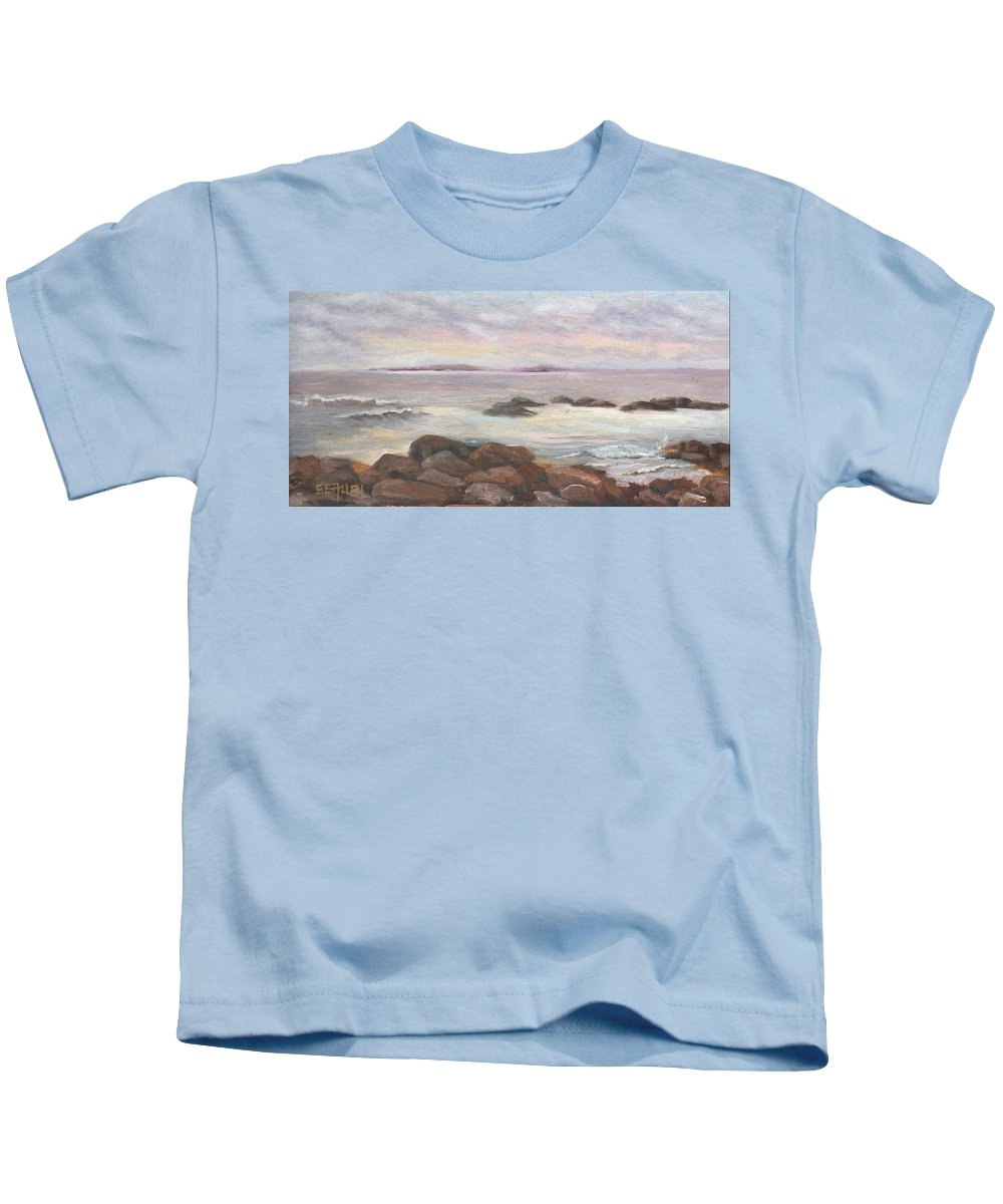 Isles Of Shoals Kids T-Shirt featuring the painting Isles of Shoals from Odiorne Point by Sharon E Allen