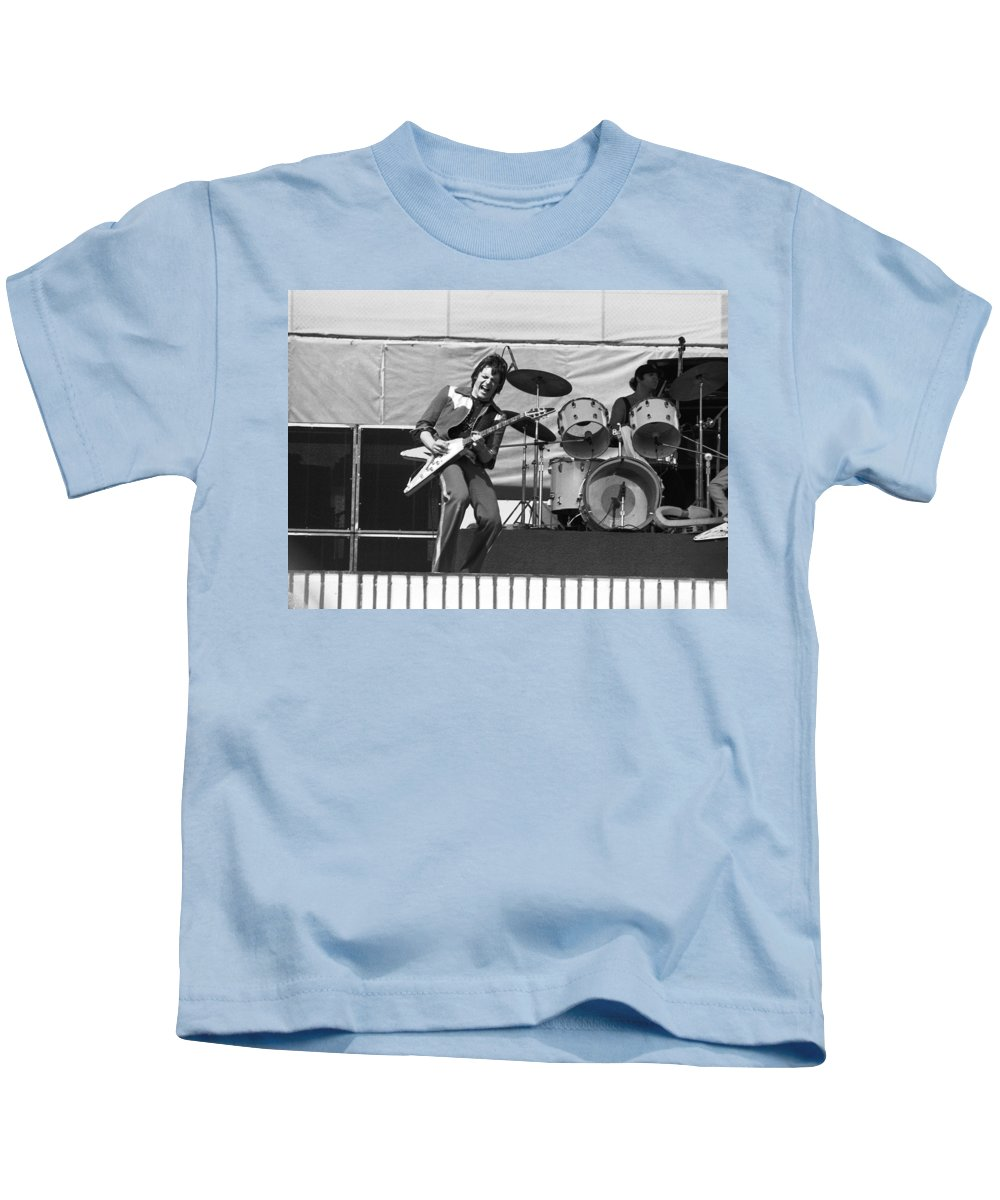 J. Geils Kids T-Shirt featuring the photograph J. Geils On Stage In Oakland 1976 by Ben Upham