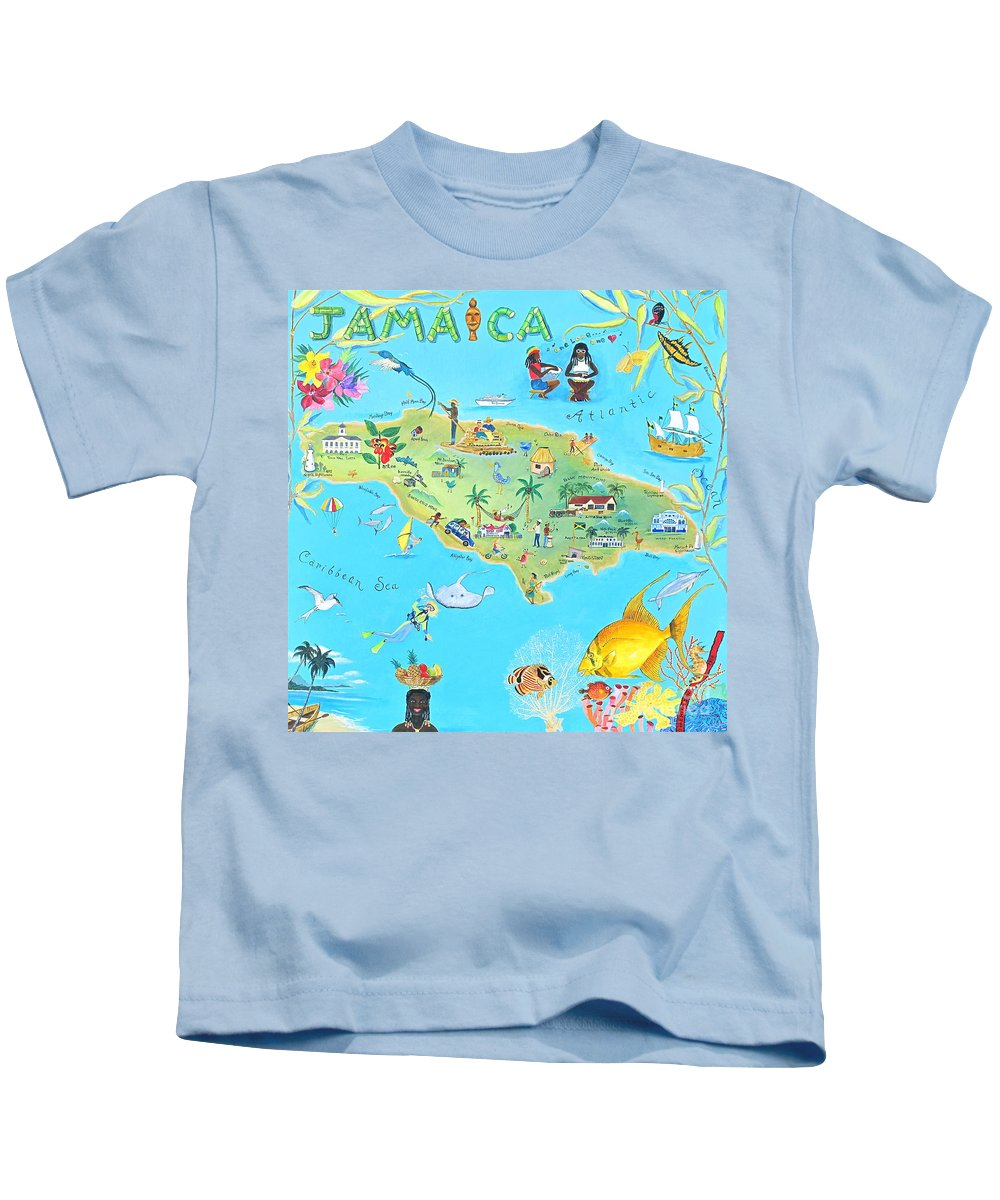 Jamaica Paintings Kids T-Shirt featuring the painting Jamaica by Virginia Ann Hemingson