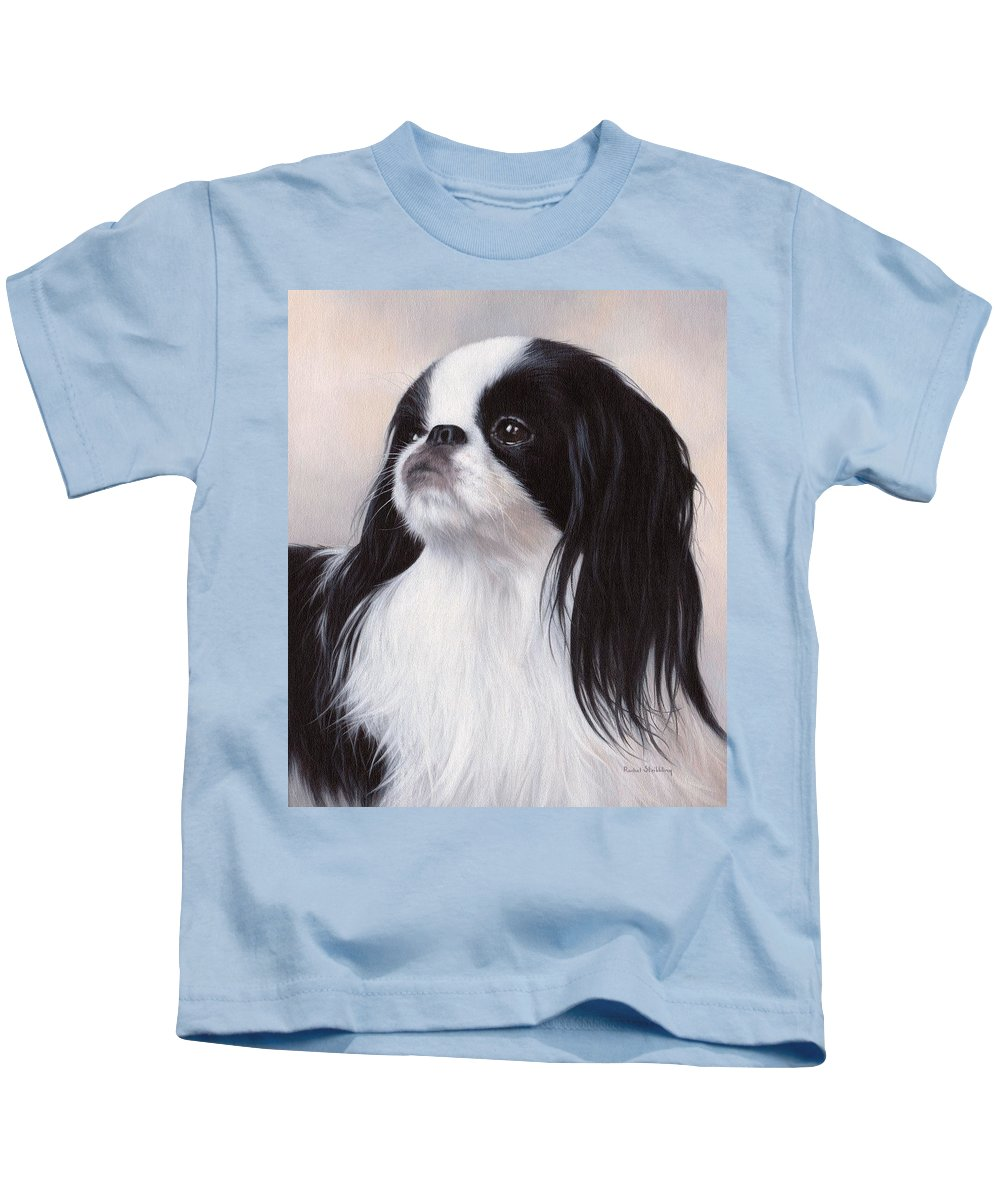 Japanese Chin Kids T-Shirt featuring the painting Japanese Chin Painting by Rachel Stribbling