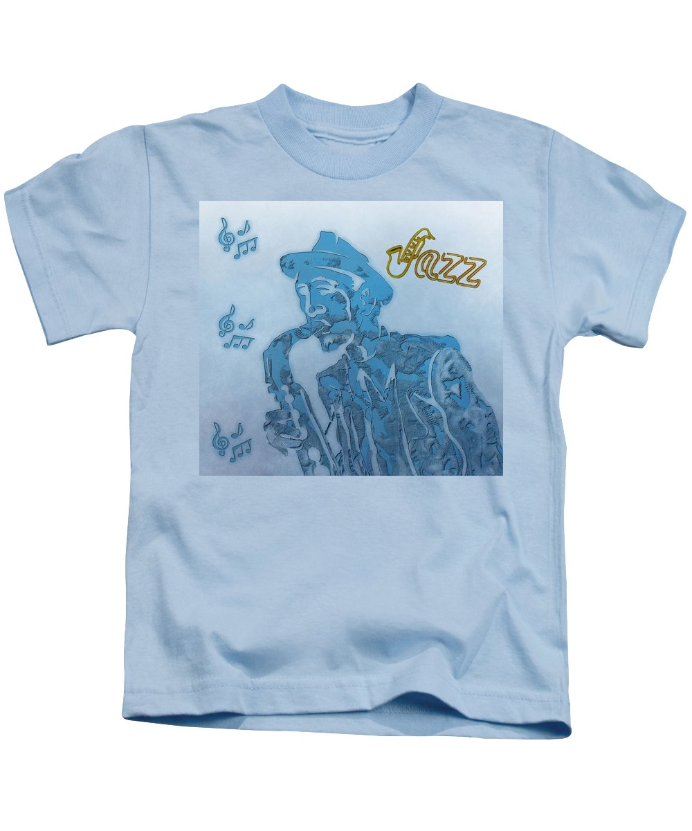 Jazz Saxophone Music Kids T-Shirt featuring the digital art Jazz Saxophone by Dan Sproul