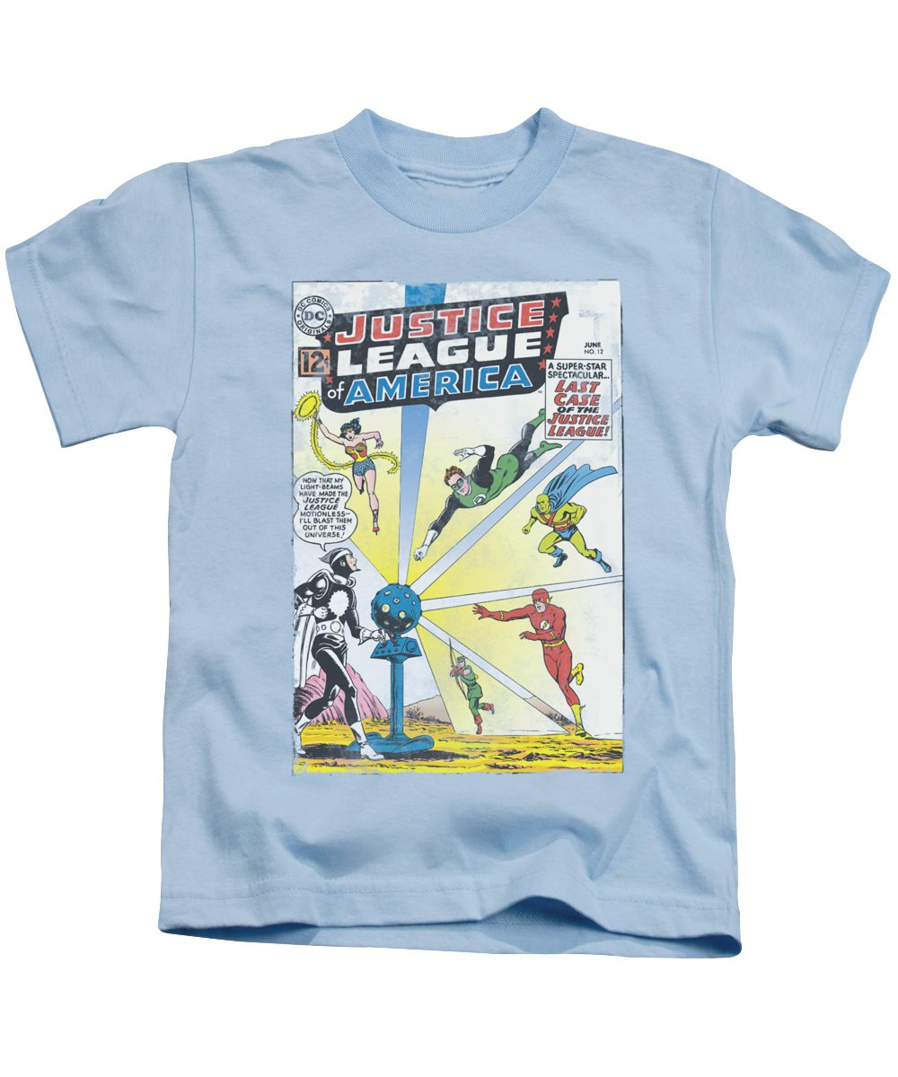 Justice League Of America Kids T-Shirt featuring the digital art Jla - Vintage Cover 12 by Brand A