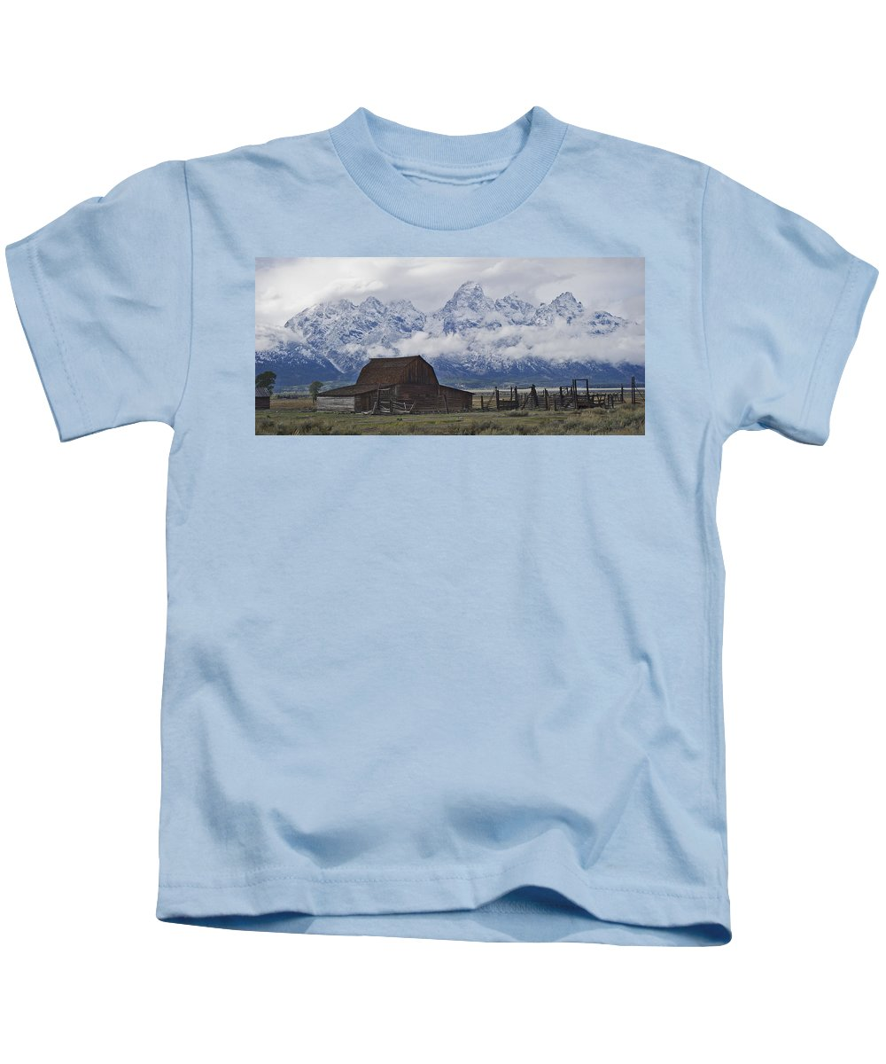 North Kids T-Shirt featuring the photograph John Moulton Barn Grand Teton National Park Wyoming by Gary Langley