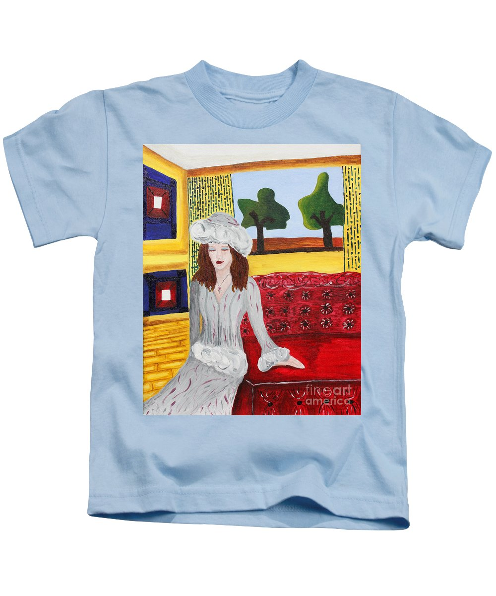 Lady Kids T-Shirt featuring the painting Join Me by Christine Dekkers