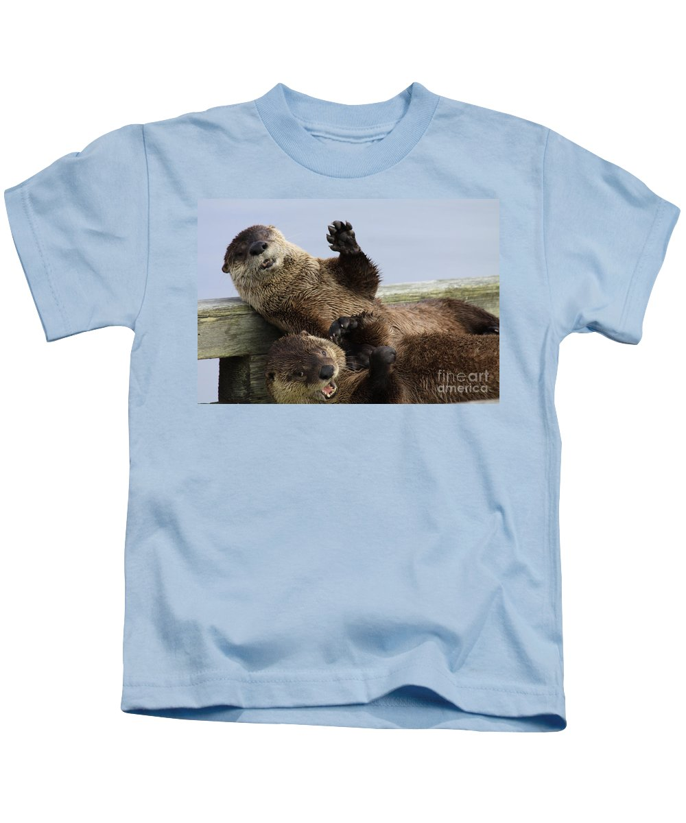 Otters Kids T-Shirt featuring the photograph Just For Laughs by Alyce Taylor