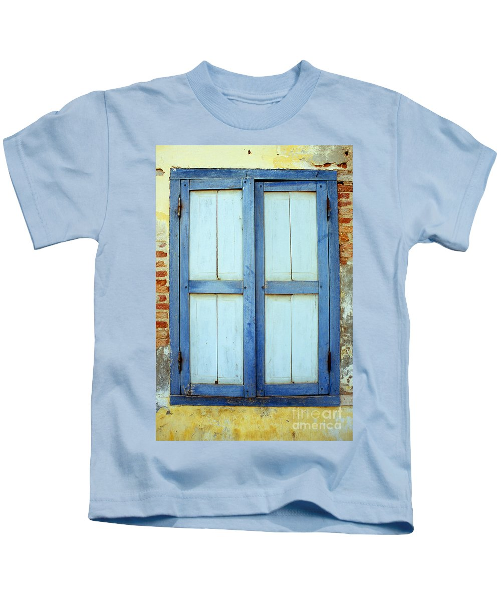Cambodia Kids T-Shirt featuring the photograph Kampot Blue Shutters by Rick Piper Photography