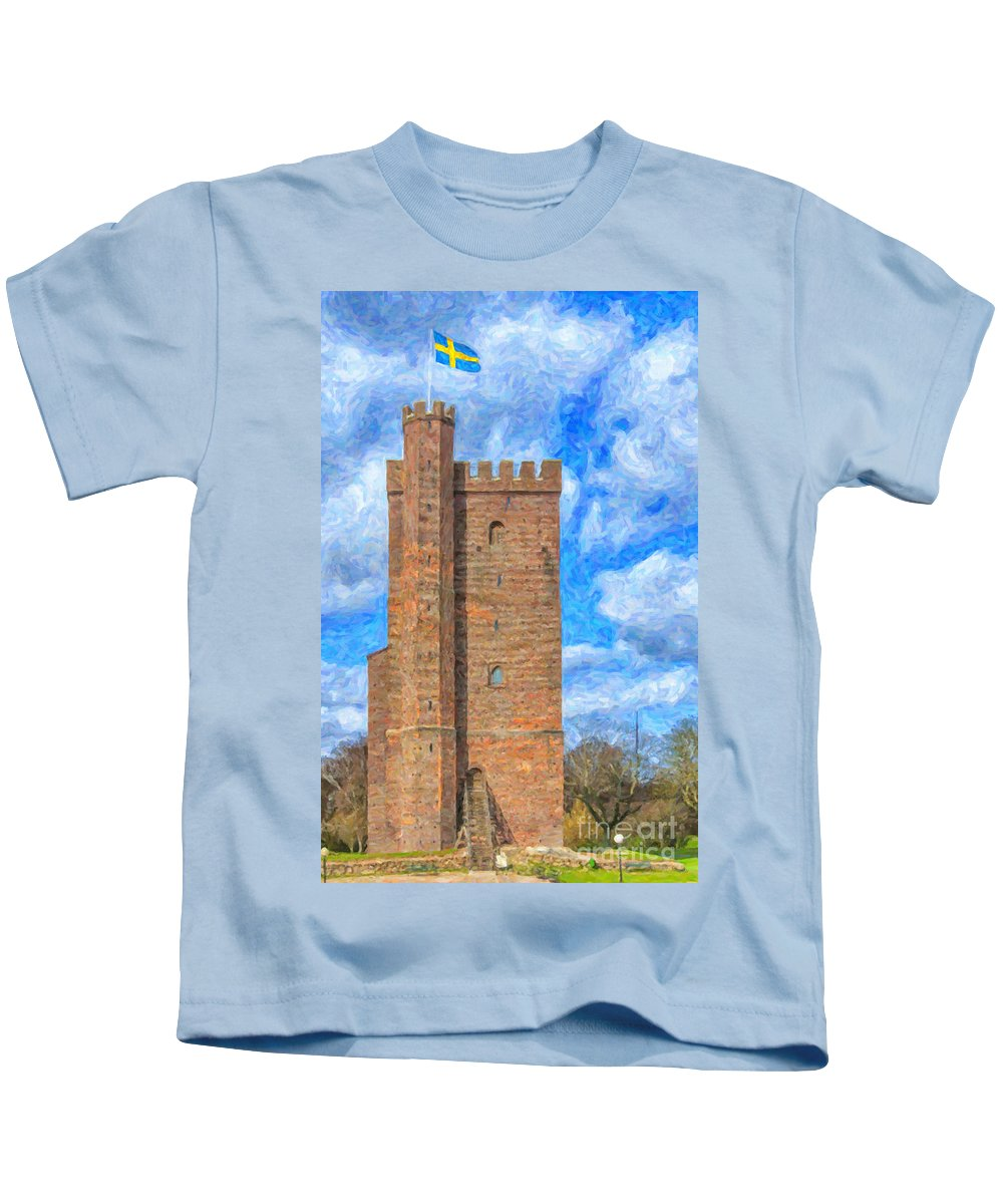 Sweden Kids T-Shirt featuring the painting Karnan Helsingborg Painting by Antony McAulay
