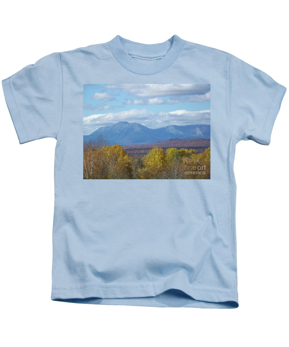 Mount Katahdin Kids T-Shirt featuring the photograph Katahdin From Staceyville 7 by Joseph Marquis