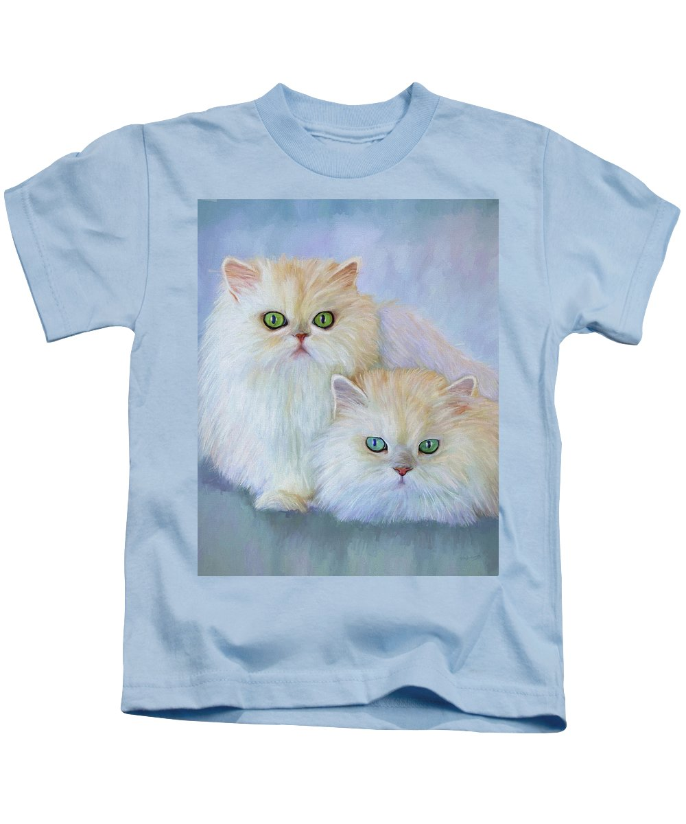 Cat Kids T-Shirt featuring the painting Katrina And Bjorn by David Wagner