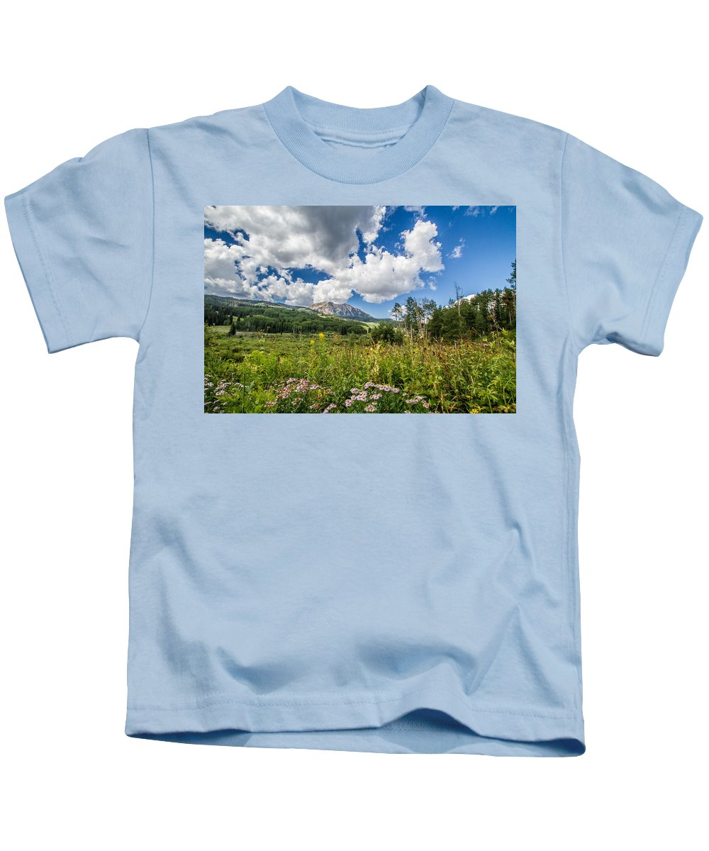 Colorado Kids T-Shirt featuring the photograph Kebler Pass Meadow by Jeff Stoddart