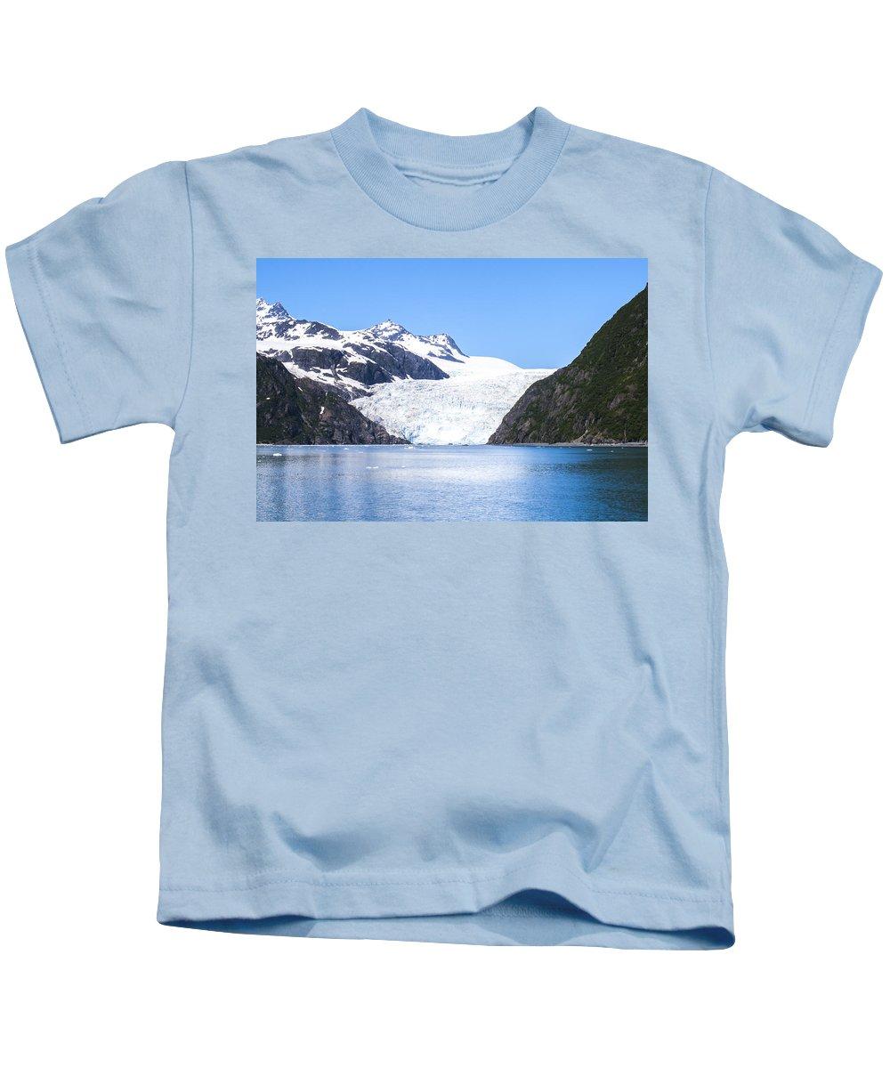 Alaska Kids T-Shirt featuring the photograph Aialik Glacier by Kyle Lavey