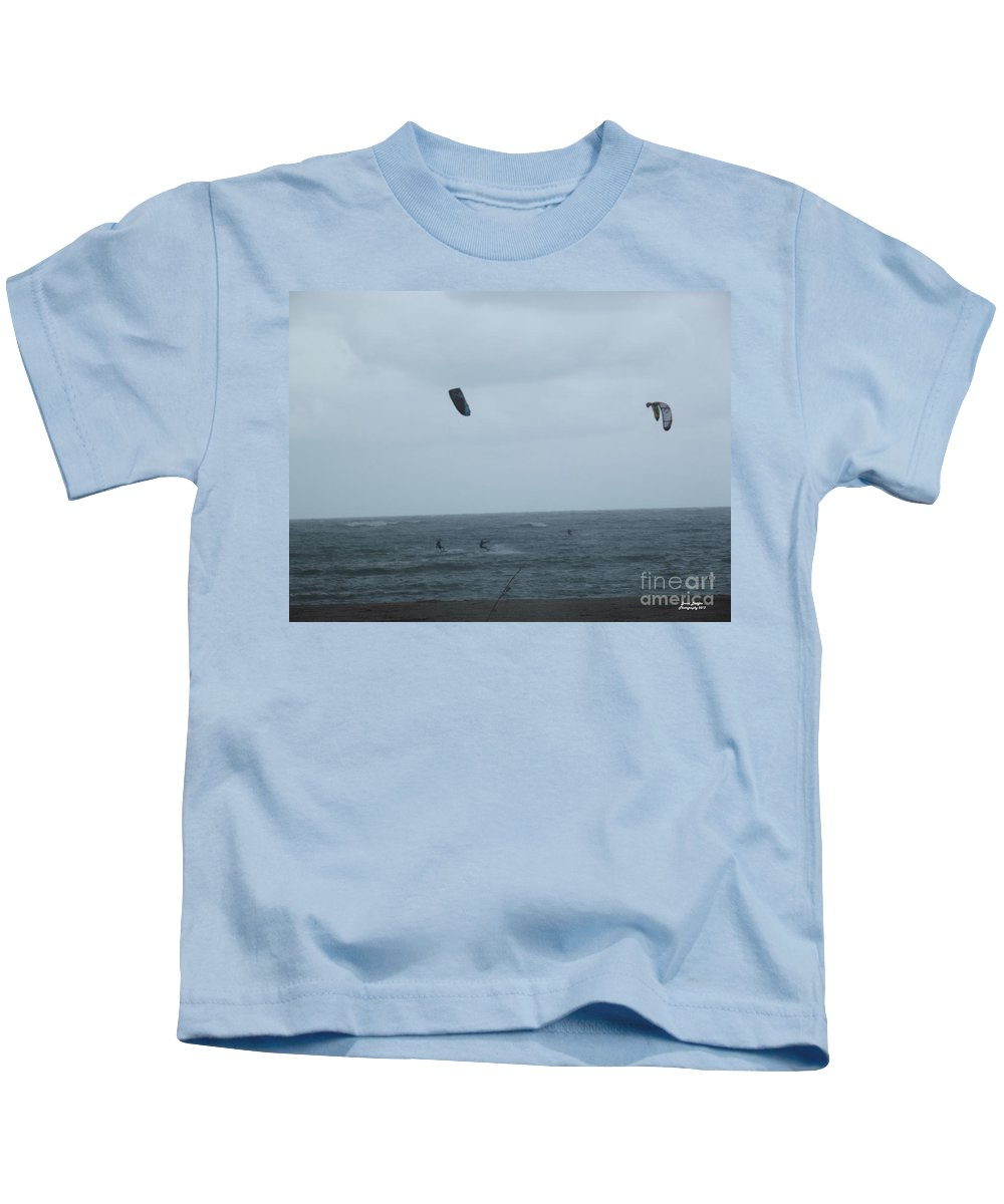 Kite Kids T-Shirt featuring the photograph Kite Surfing by Jennifer Lavigne