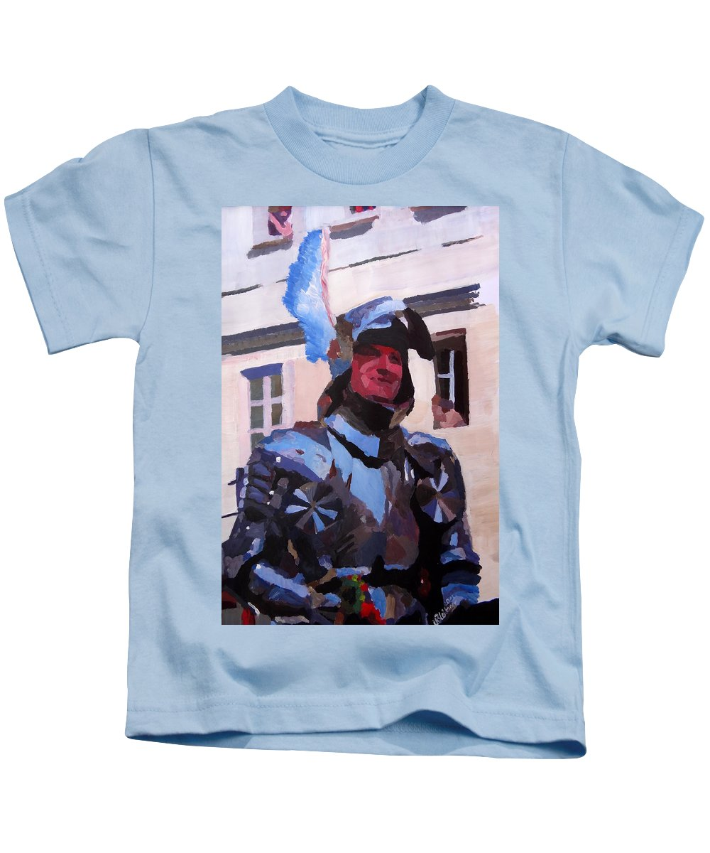 Fine Art Print Kids T-Shirt featuring the painting Knight In Full Armor During Parade by M Bleichner