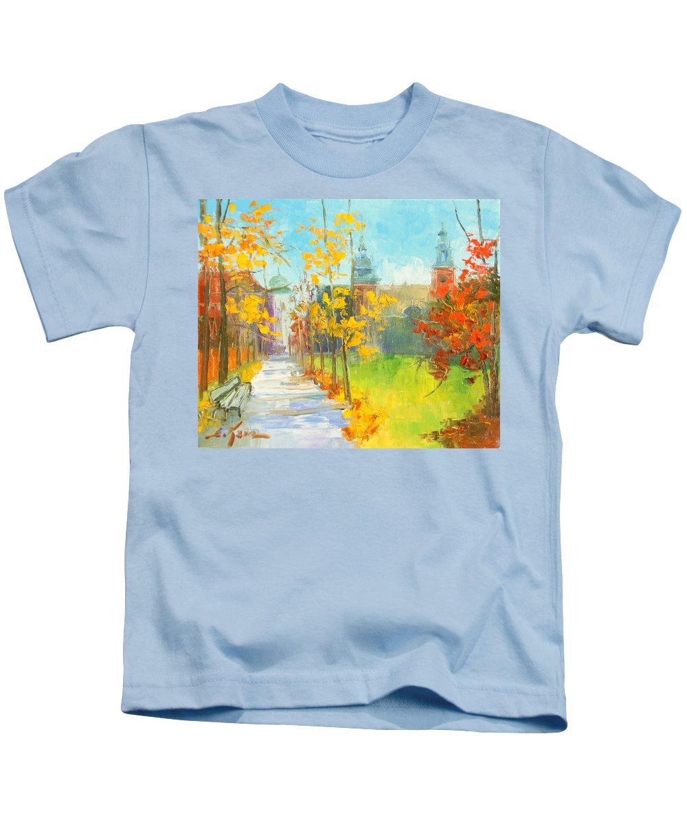Krakow Kids T-Shirt featuring the painting Krakow - Autumn by Luke Karcz