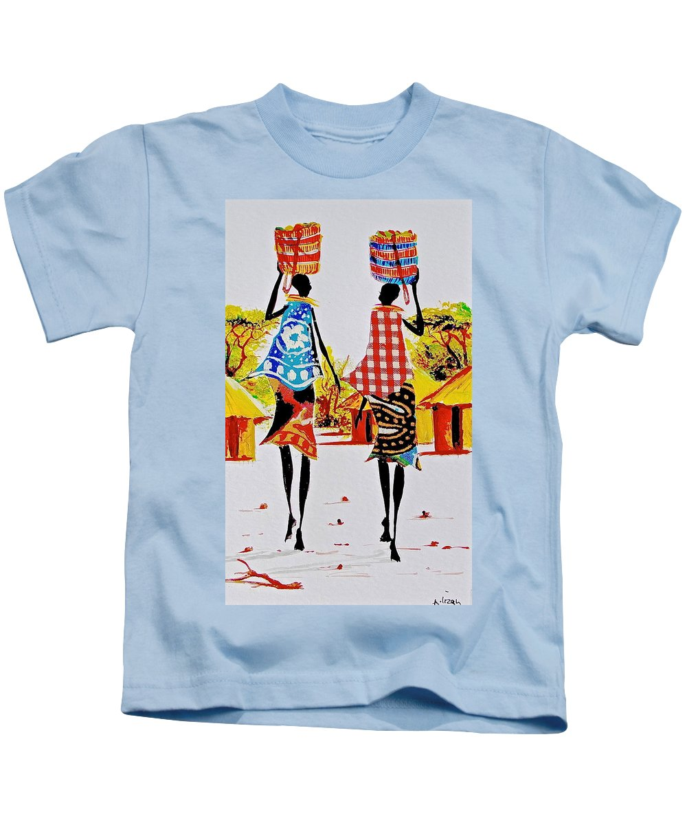 African Paintings Kids T-Shirt featuring the painting L 123 by Albert Lizah