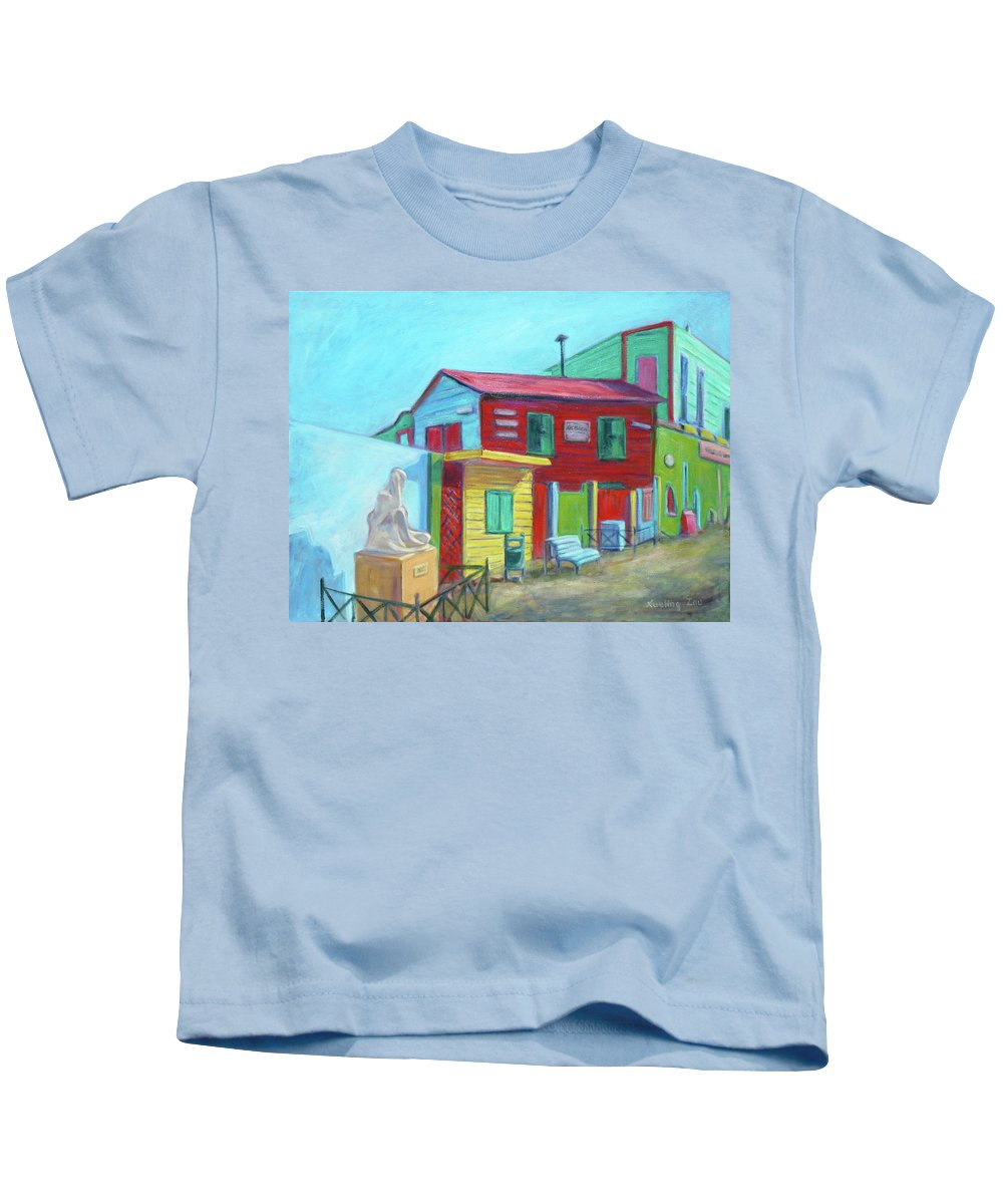 Morning Kids T-Shirt featuring the painting La Boca Morning I by Xueling Zou