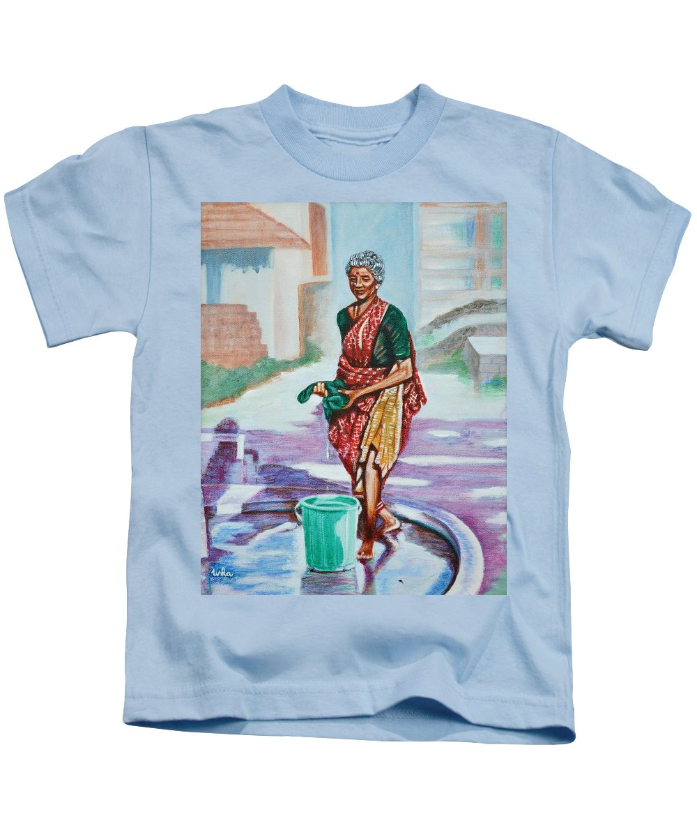 Lady Kids T-Shirt featuring the painting Lady Washing Clothes by Usha Shantharam
