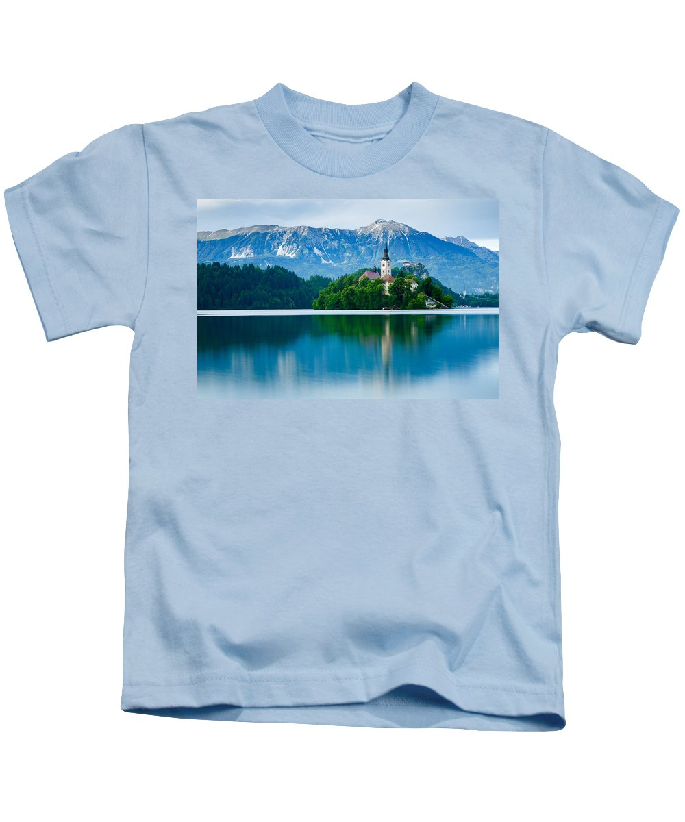 Bled Kids T-Shirt featuring the photograph Lake Bled Island Church by Ian Middleton