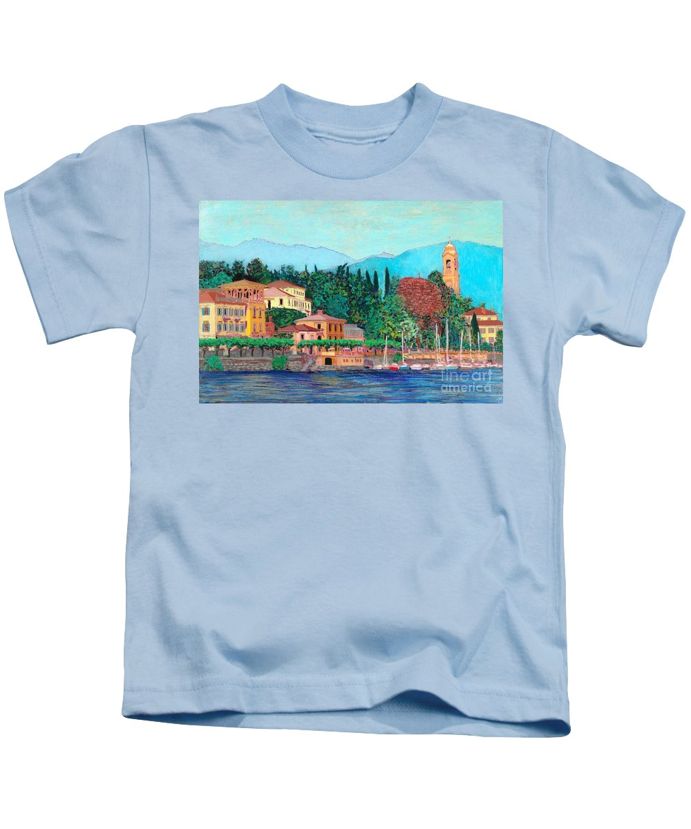 Landscape Kids T-Shirt featuring the painting Lake Como by Allan P Friedlander