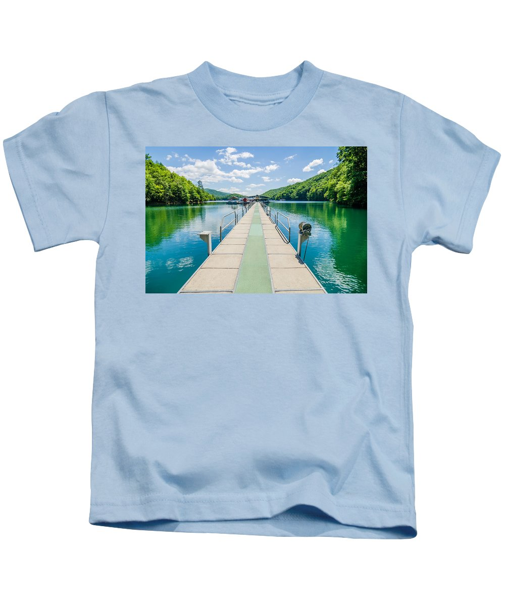 Great Kids T-Shirt featuring the photograph Lake Fontana Boats And Ramp In Great Smoky Mountains Nc by Alex Grichenko