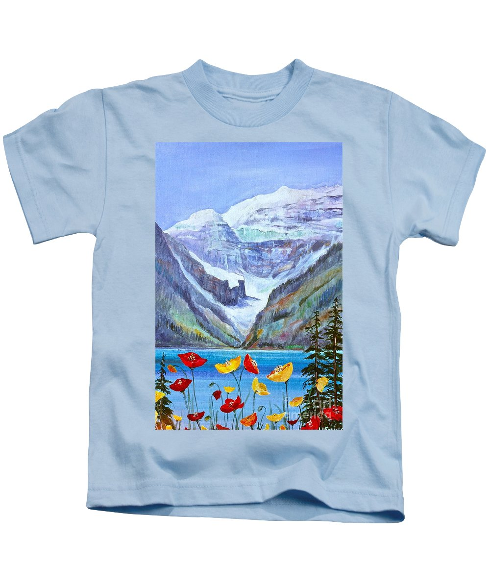 Lake Louise Kids T-Shirt featuring the painting Lake Louise Poppies by Virginia Ann Hemingson