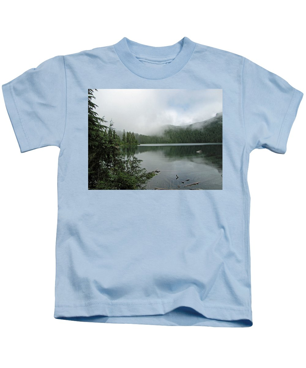 Mowich Lake Kids T-Shirt featuring the photograph Lake Mowich by Tikvah's Hope