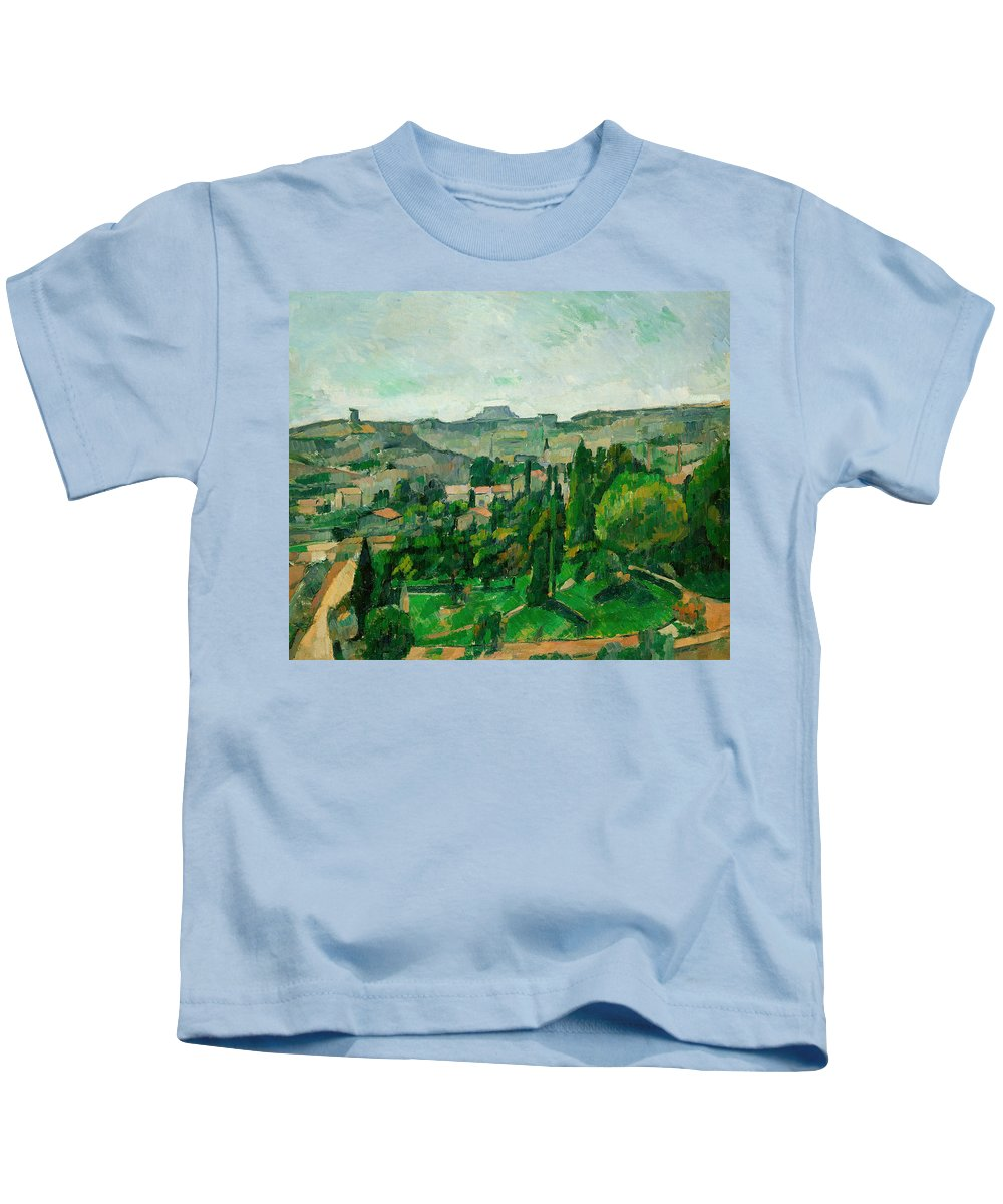 Post-impressionist Kids T-Shirt featuring the painting Landscape In The Ile-de-france by Paul Cezanne