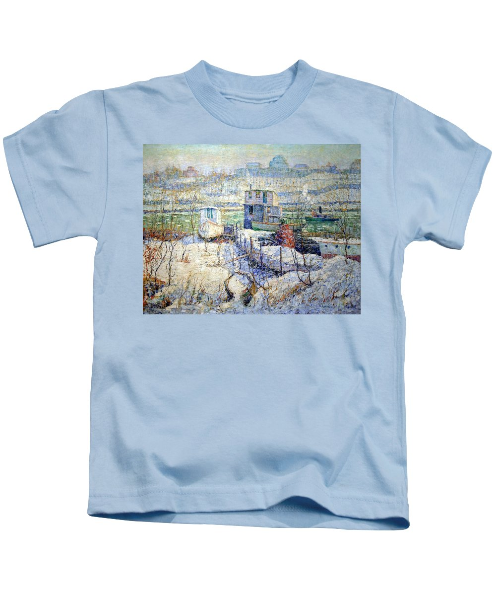 Boathouse Kids T-Shirt featuring the photograph Lawson's Boathouse -- Winter -- Harlem River by Cora Wandel