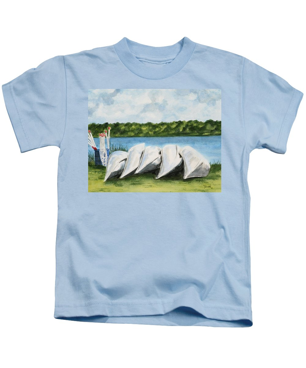 Canoes Kids T-Shirt featuring the painting Lazy River by Regan J Smith