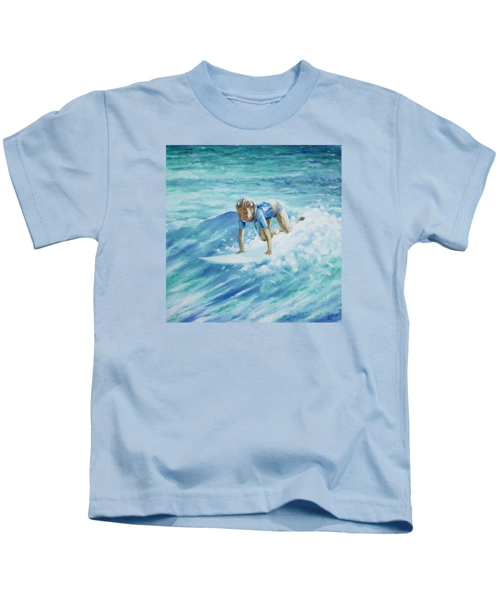 Surfing Artwork Kids T-Shirt featuring the painting Learning To Fly by William Love