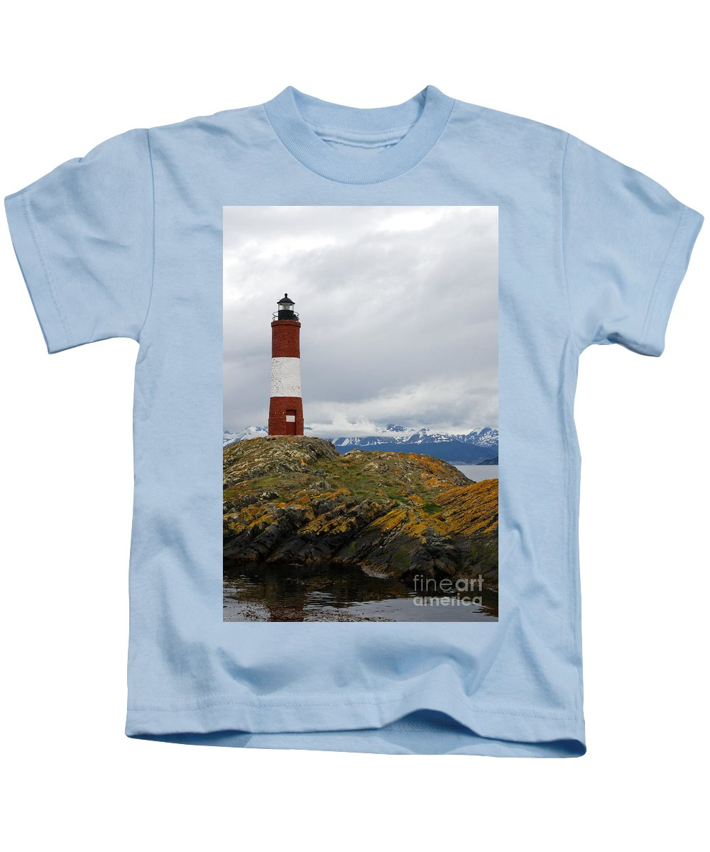 Les Eclaireurs Kids T-Shirt featuring the photograph Les Eclaireurs Lighthouse Southern Patagonia by Ralf Broskvar